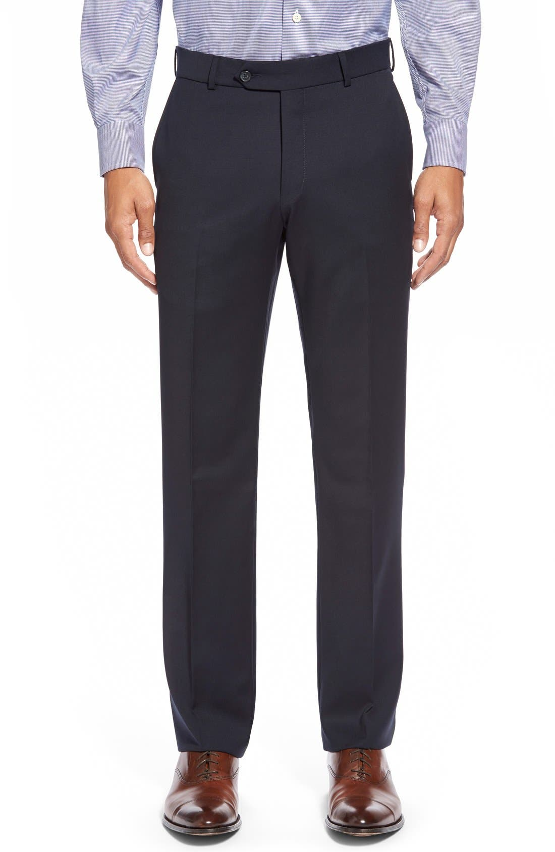 BALLIN Flat Front Solid Wool Trousers, Main, color, NAVY