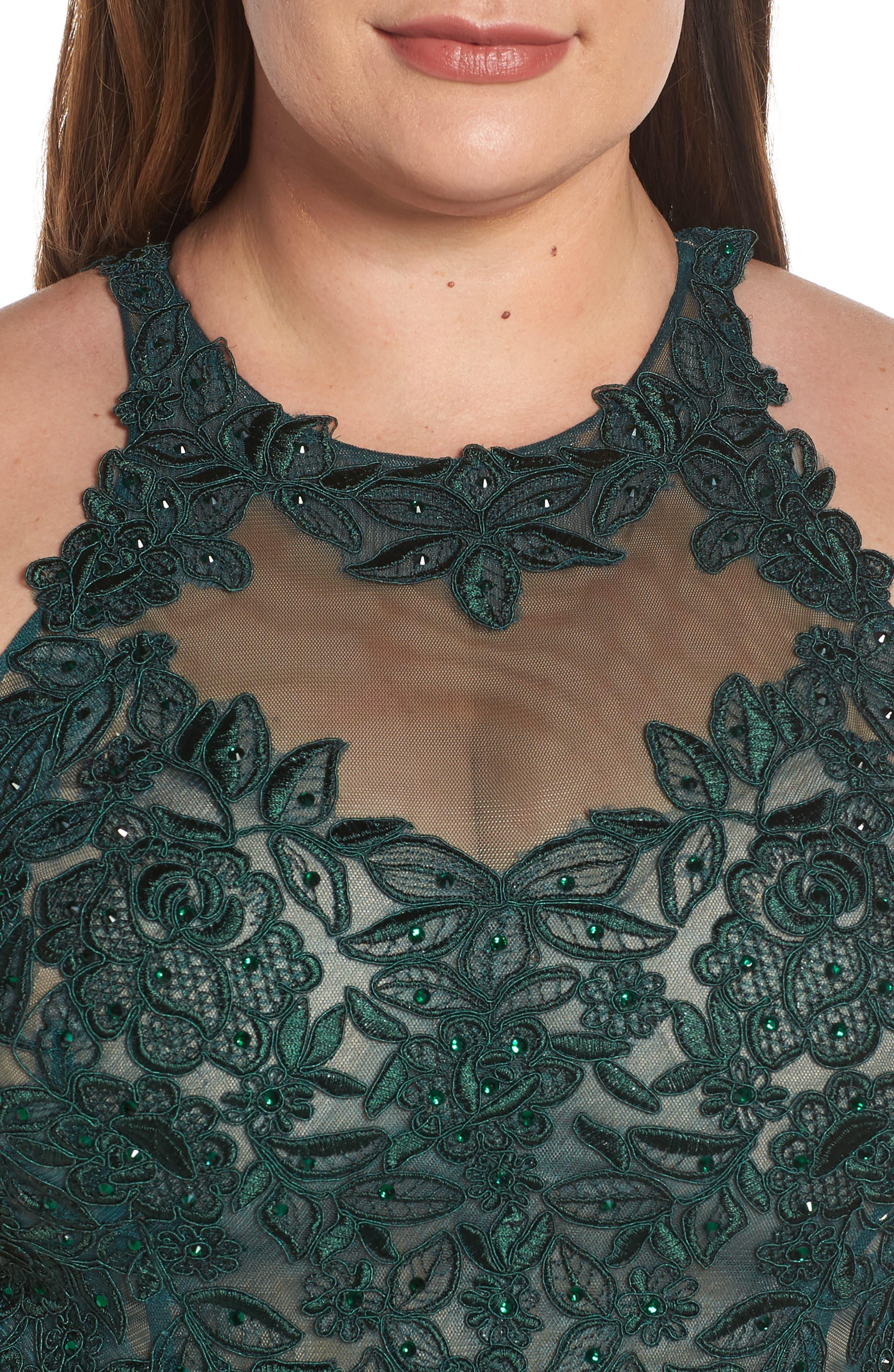 XSCAPE, Embroidered Slit Dress, Alternate thumbnail 5, color, HUNTER