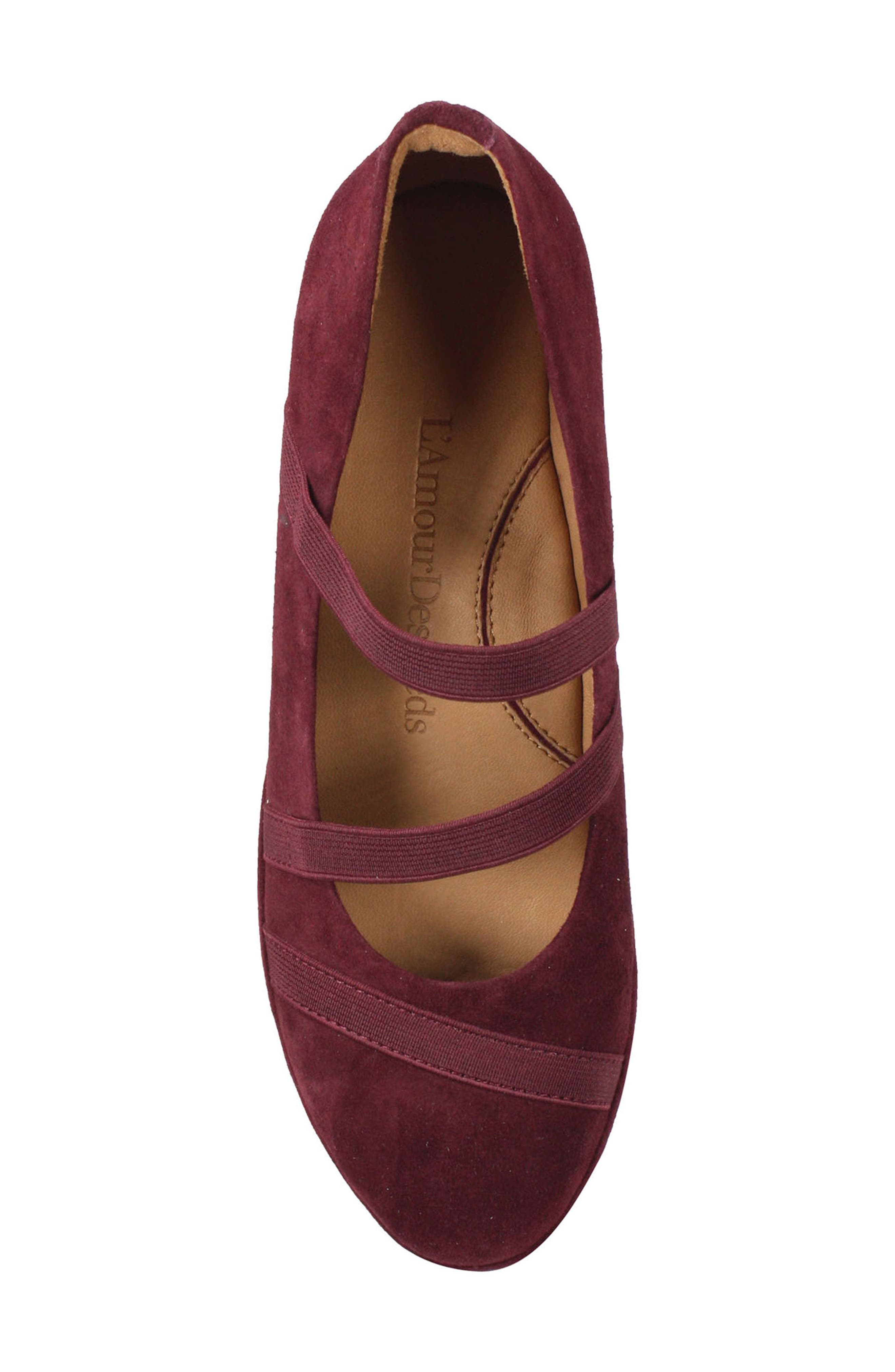 L'AMOUR DES PIEDS, Berency Wedge, Alternate thumbnail 5, color, MULBERRY SUEDE
