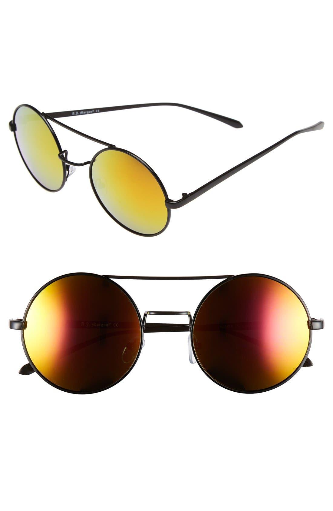 A.J. MORGAN, 'Eclipse' 54mm Round Mirror Lens Sunglasses, Main thumbnail 1, color, 001