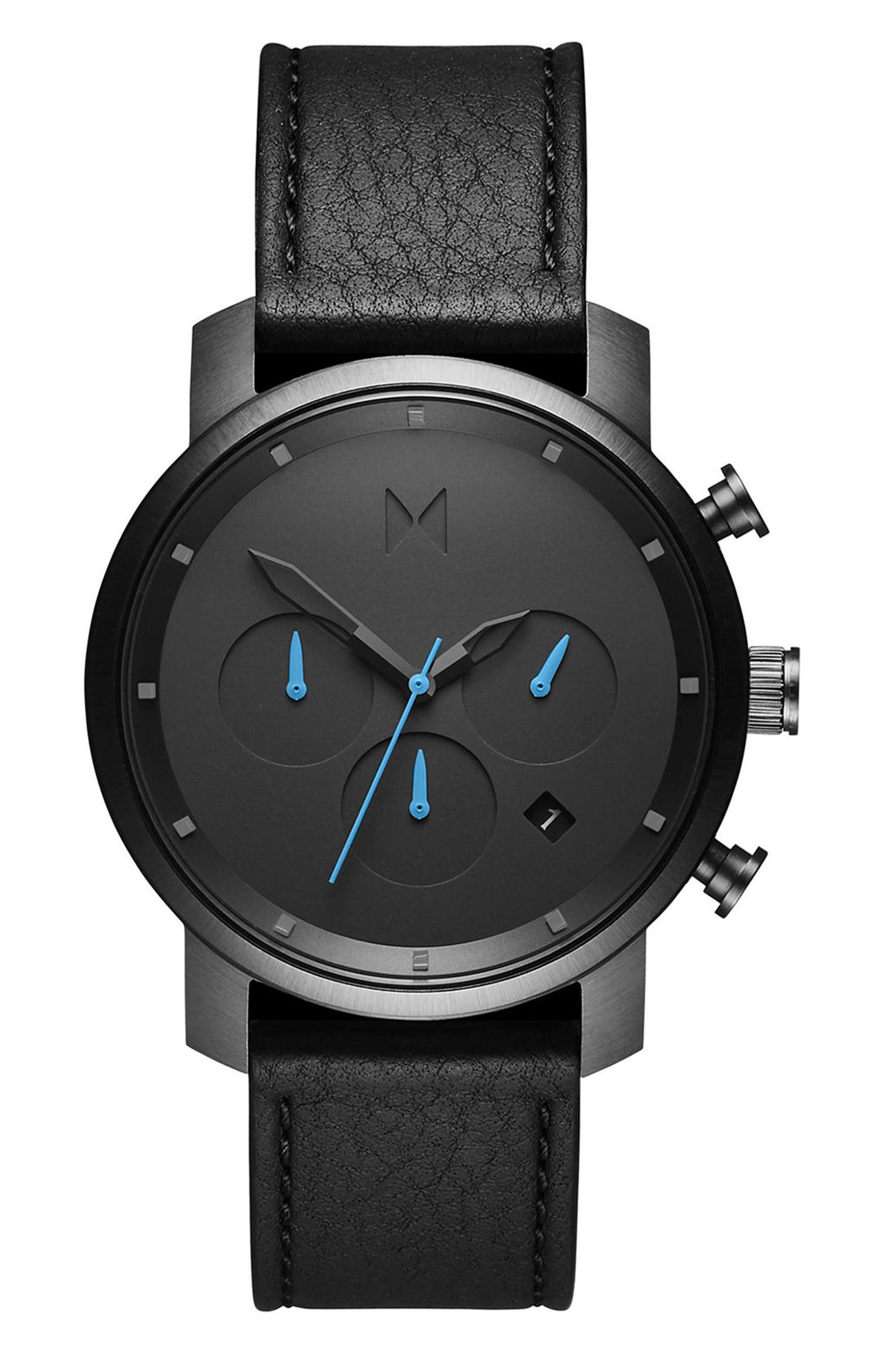 MVMT, The Chrono Chronograph Leather Strap Watch, 40mm, Main thumbnail 1, color, GUNMETAL/BLACK