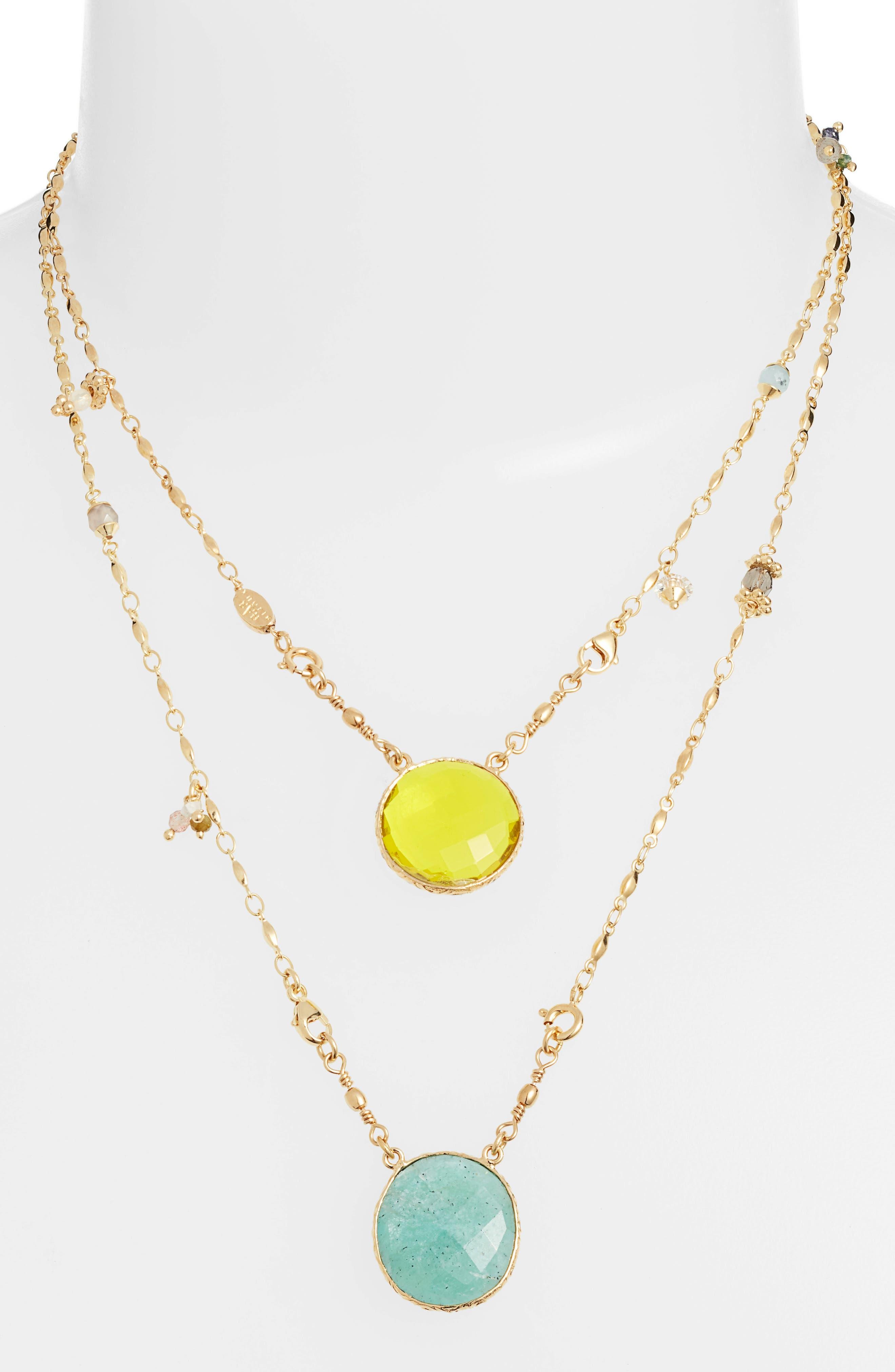 GAS BIJOUX Scapulaire Convertible Pendant Necklace, Main, color, YELLOW