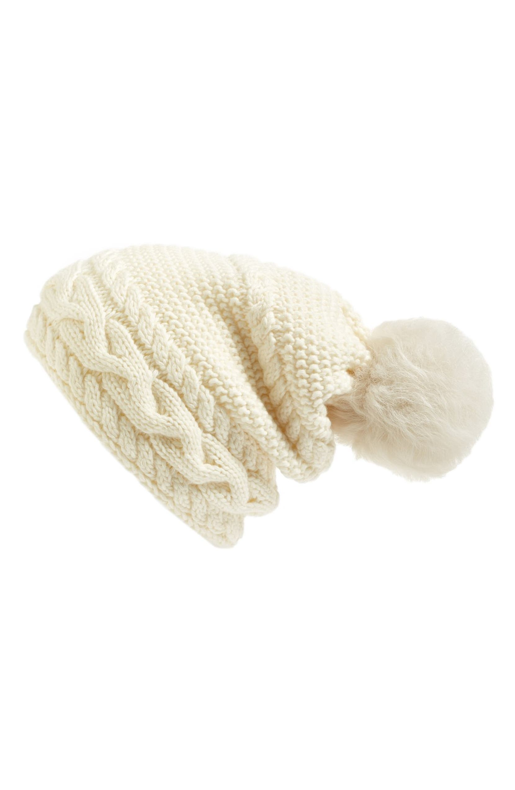 5937ba4553d UGG® Cable Knit Genuine Shearling Pom Beanie