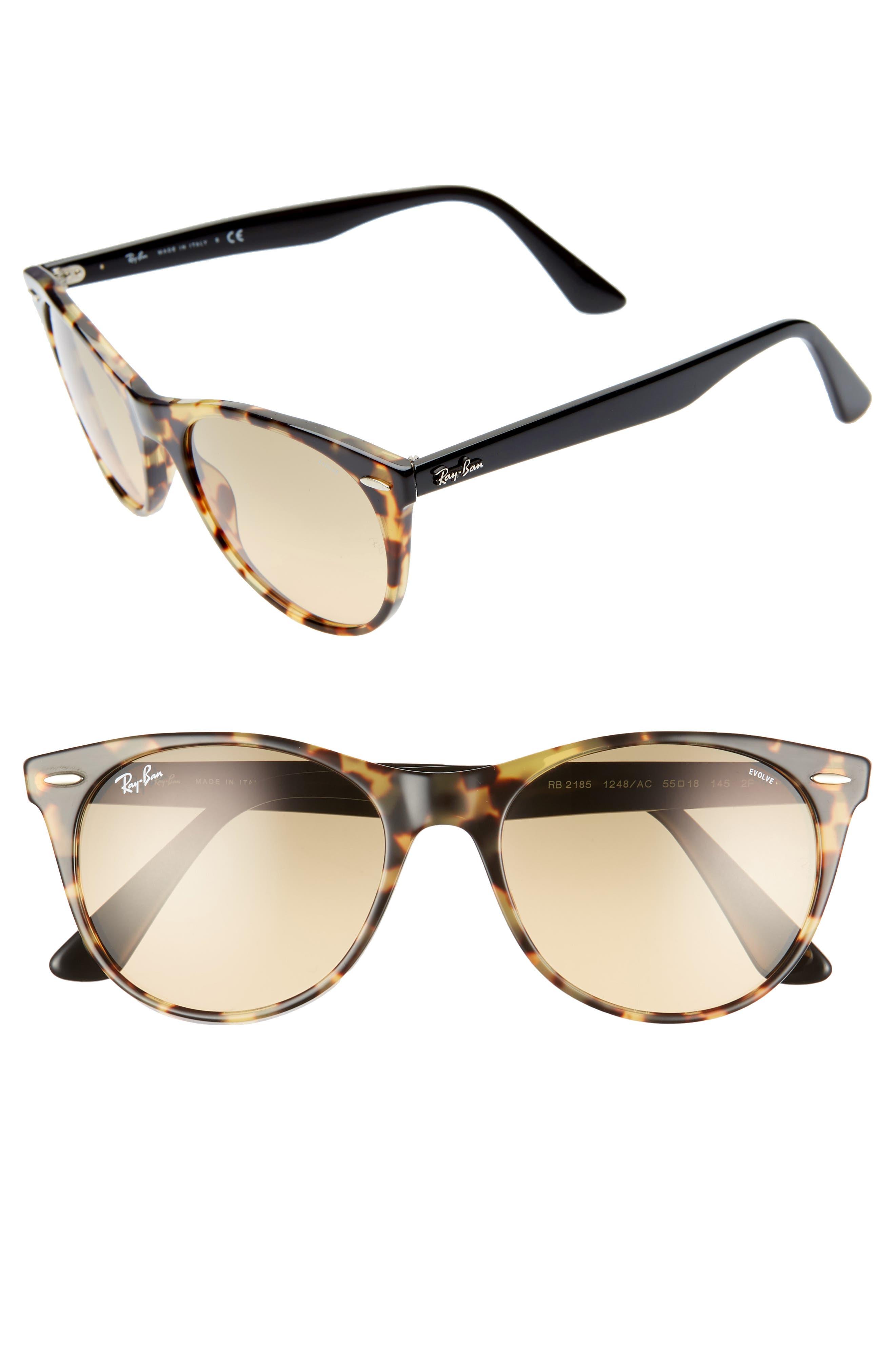 RAY-BAN, Wayfarer II 55mm Polarized Photochromic Sunglasses, Main thumbnail 1, color, 200