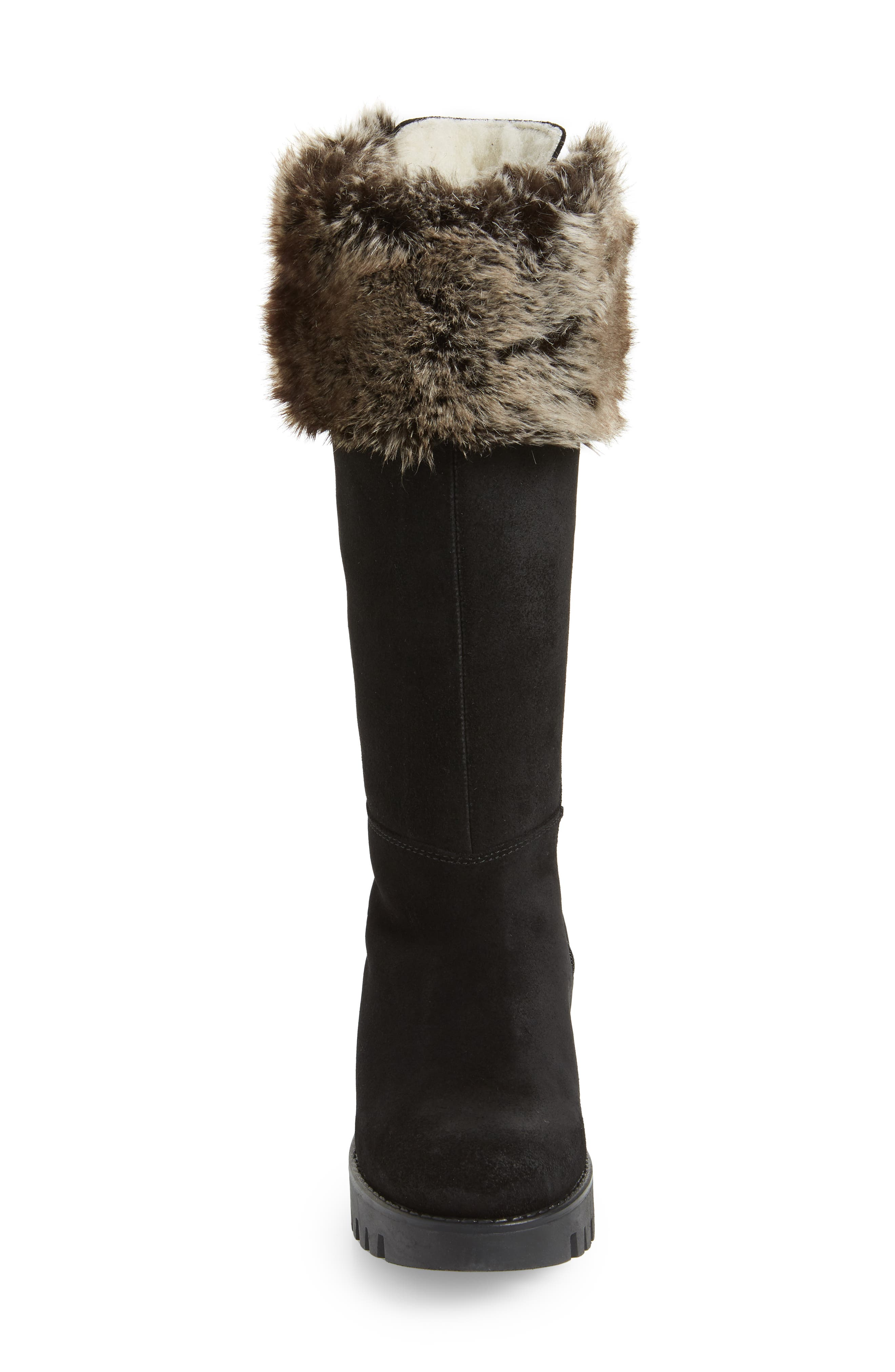 BOS. & CO., Graham Waterproof Winter Boot with Faux Fur Cuff, Alternate thumbnail 4, color, BLACK SUEDE