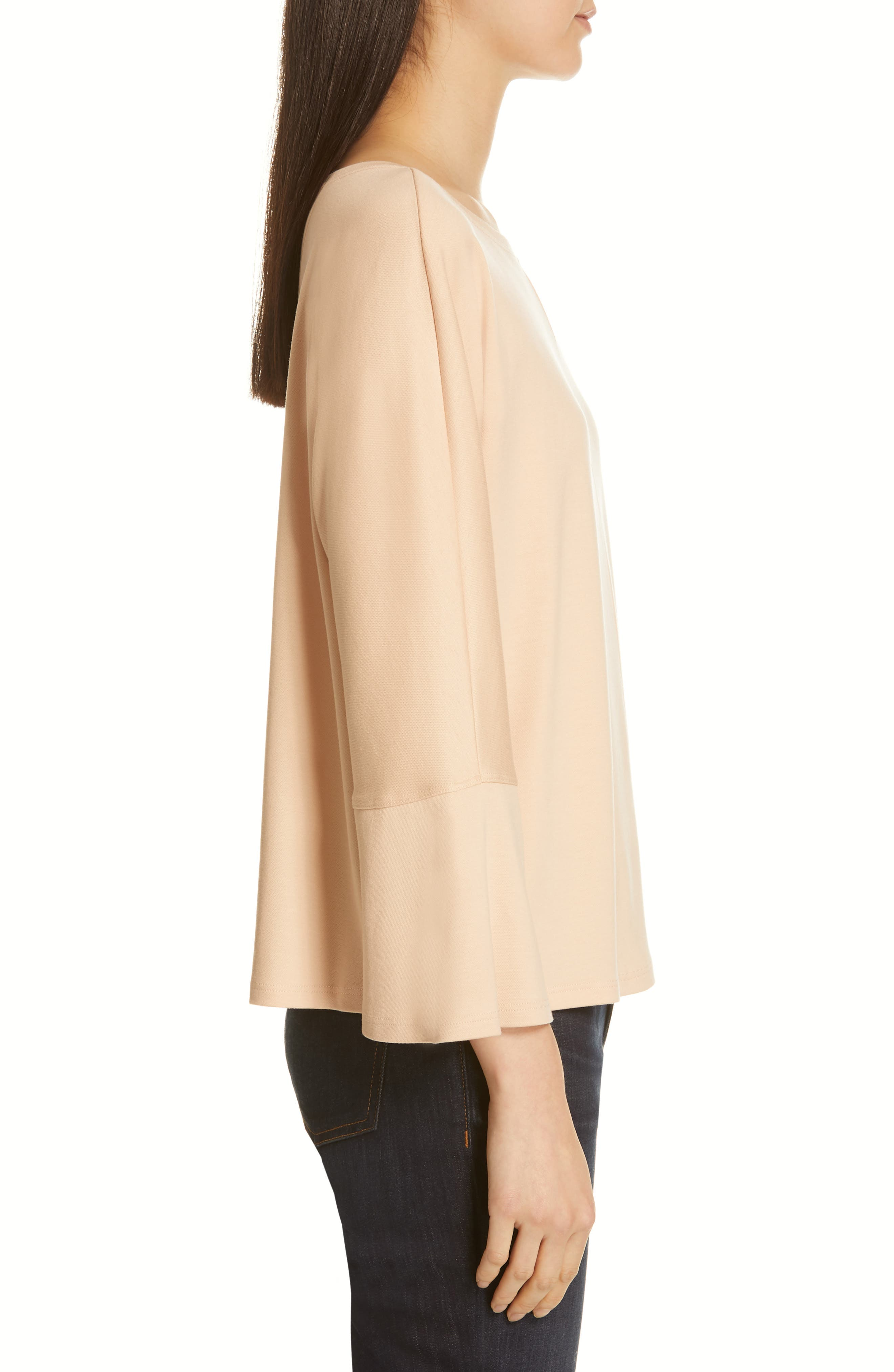 EILEEN FISHER, Bell Sleeve Top, Alternate thumbnail 3, color, ROSE WATER