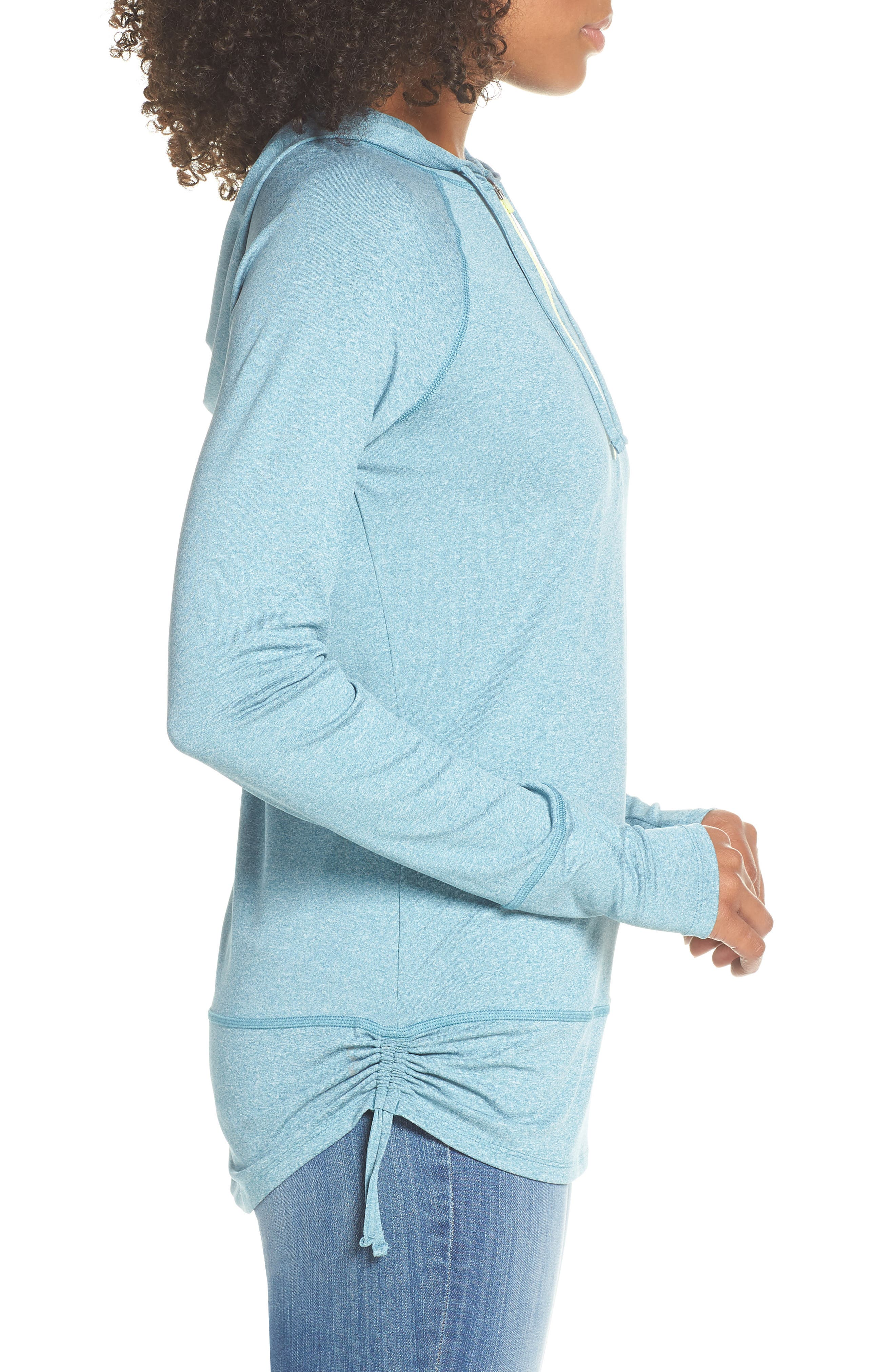 THE NORTH FACE, Shade Me Quarter Zip Hoodie, Alternate thumbnail 4, color, STORM BLUE HEATHER