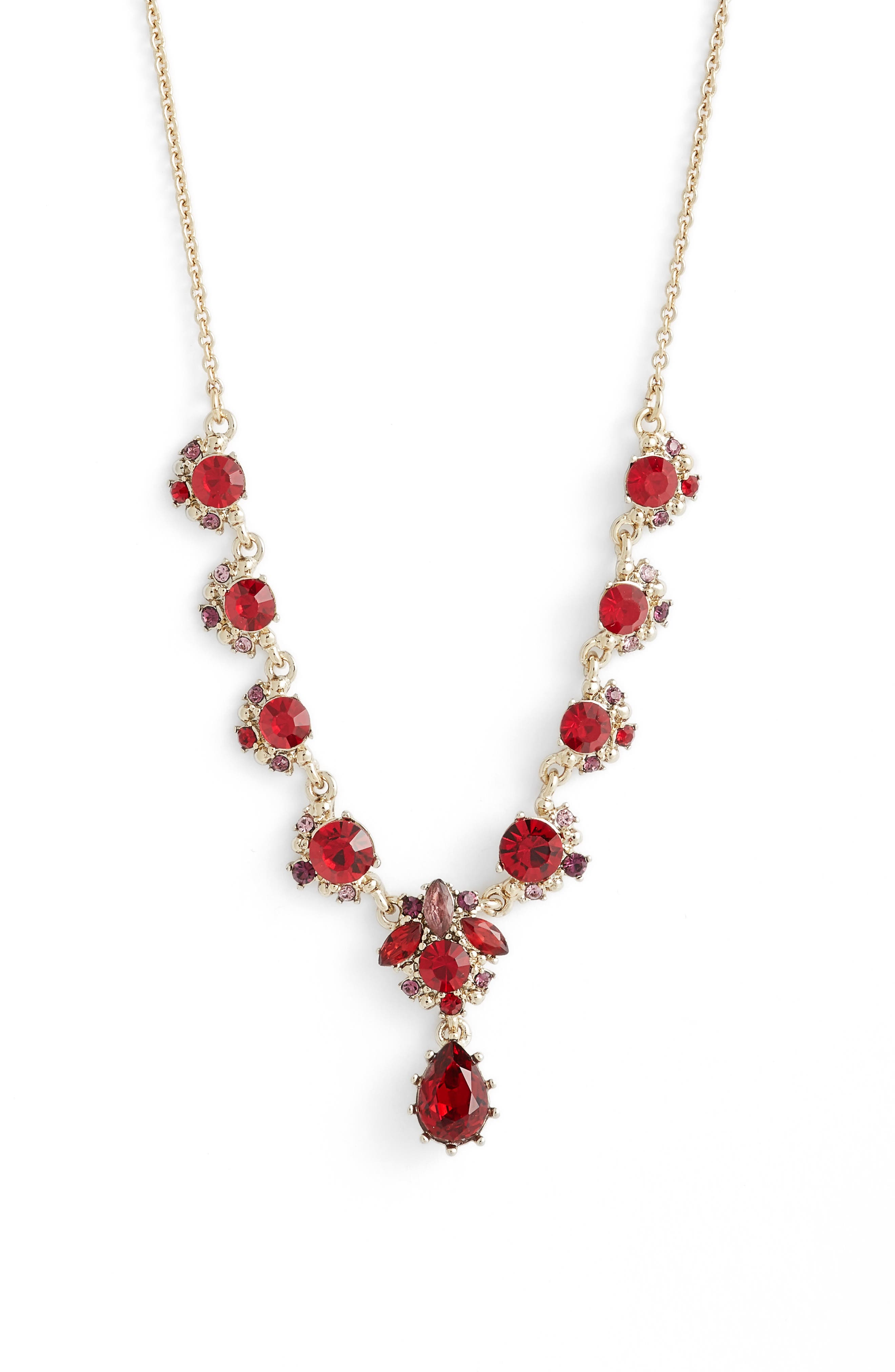 MARCHESA Crystal Y-Necklace, Main, color, RED MULTI/ GOLD
