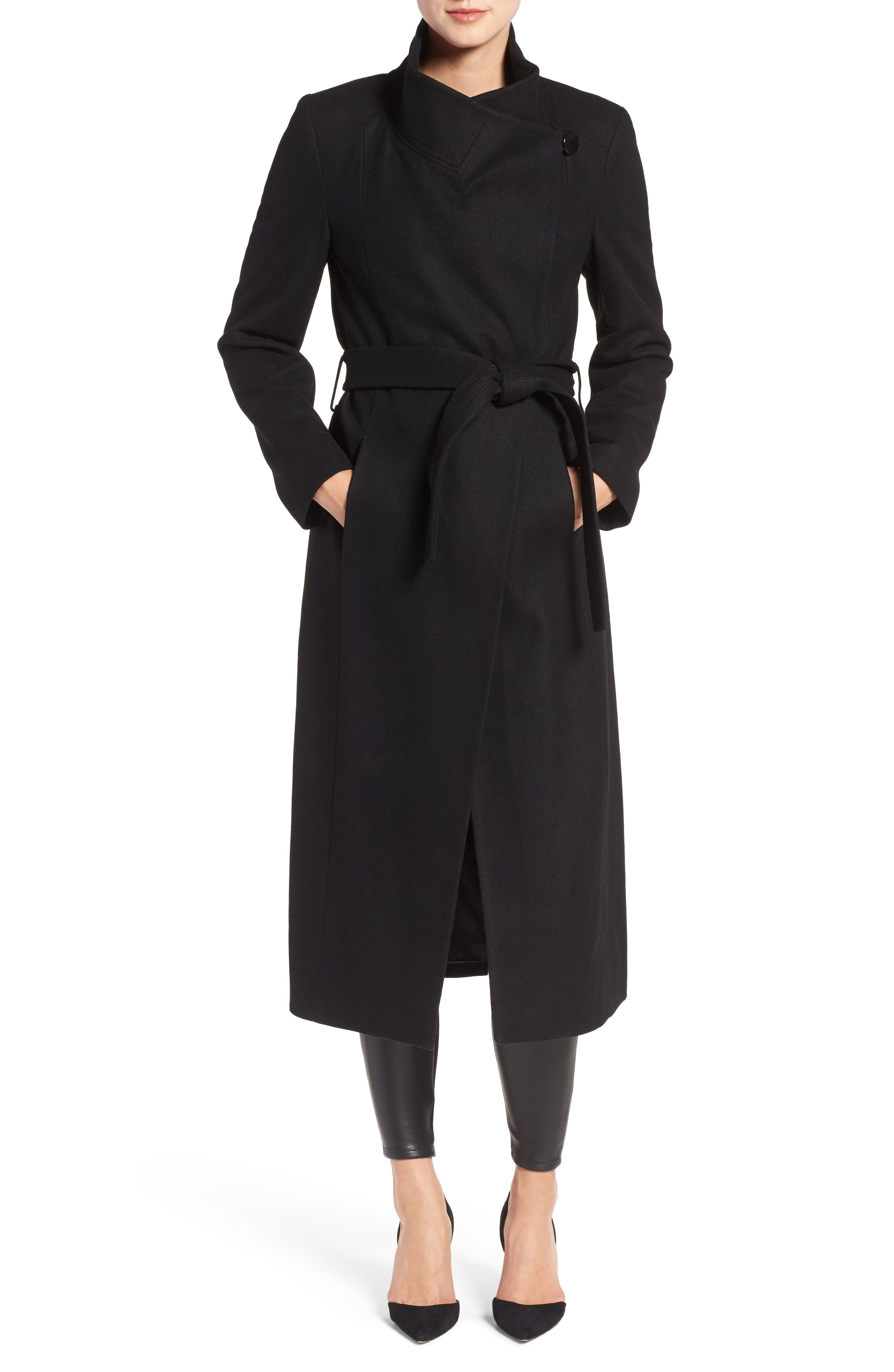 KENNETH COLE NEW YORK, Fencer Melton Wool Maxi Coat, Main thumbnail 1, color, 001