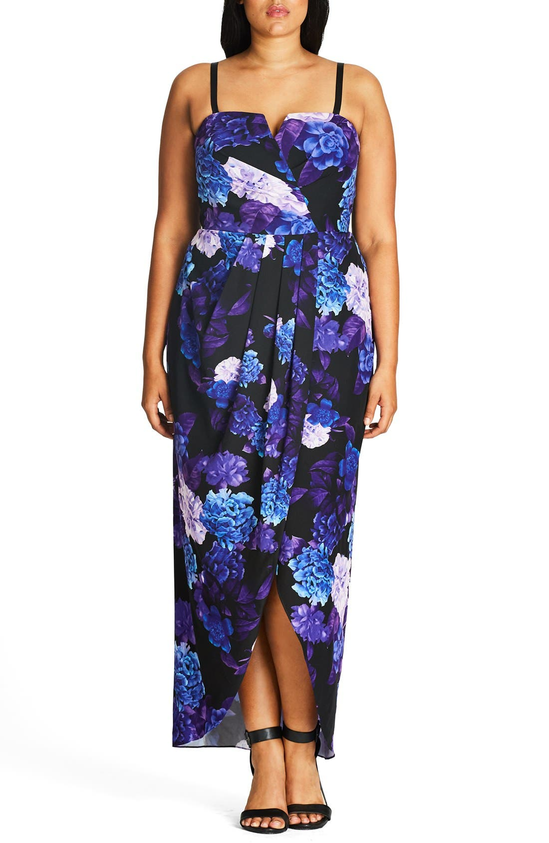 CITY CHIC, Hydrangea Print Maxi Dress, Main thumbnail 1, color, BLACK