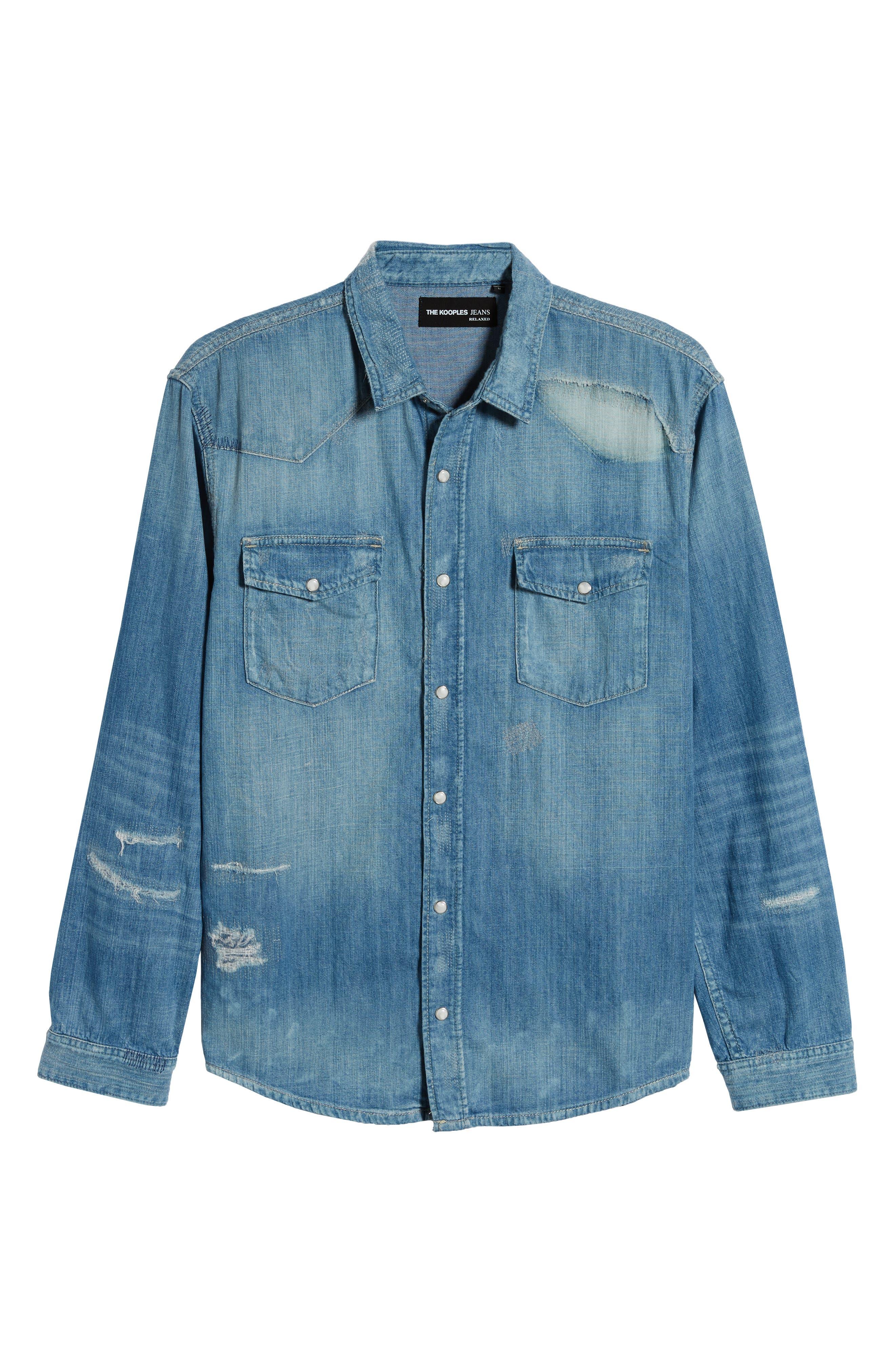 THE KOOPLES, Ripped Denim Shirt, Alternate thumbnail 5, color, BLUE DENIM