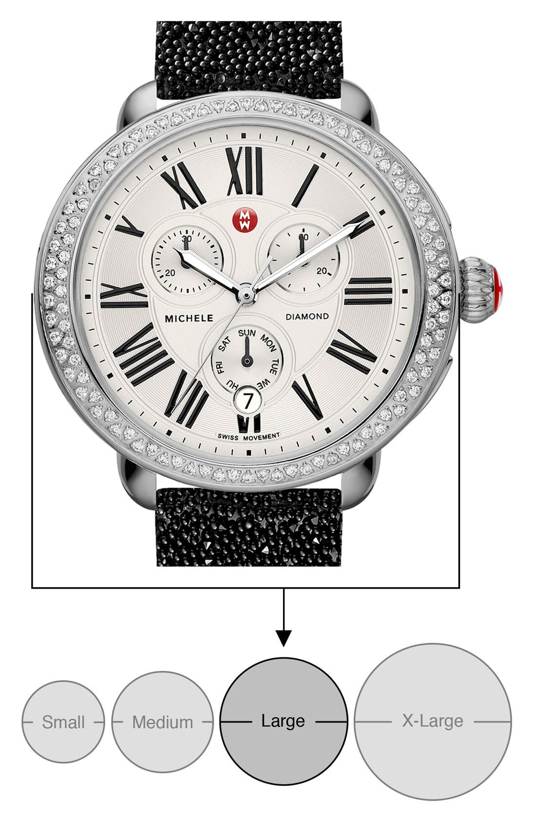 MICHELE, Serein Diamond Gold Plated Watch Case, 40mm x 38mm, Alternate thumbnail 4, color, SILVER