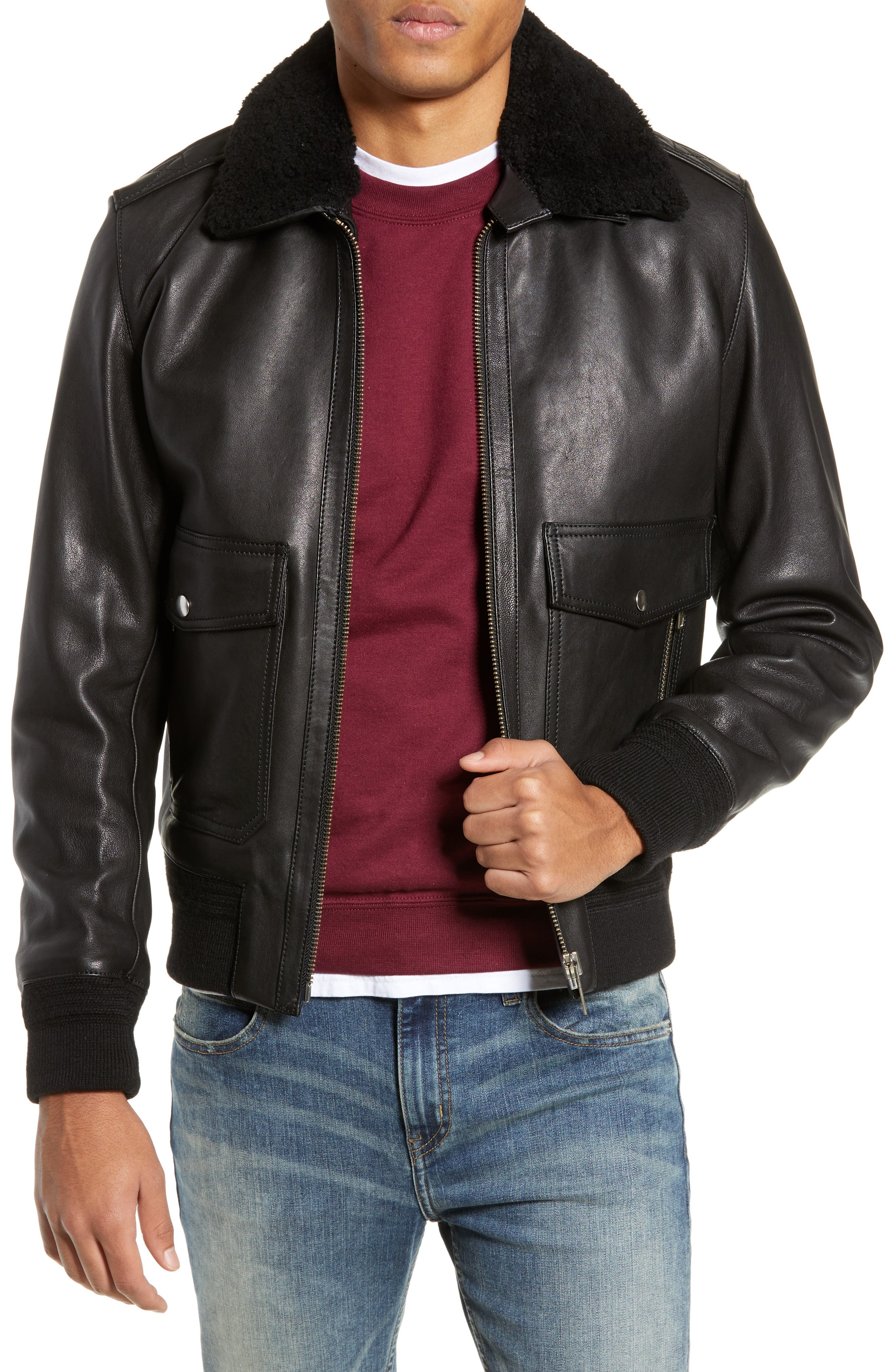 THE KOOPLES, Teddy Leather Jacket with Removable Genuine Lamb Shearling Trim, Main thumbnail 1, color, 001