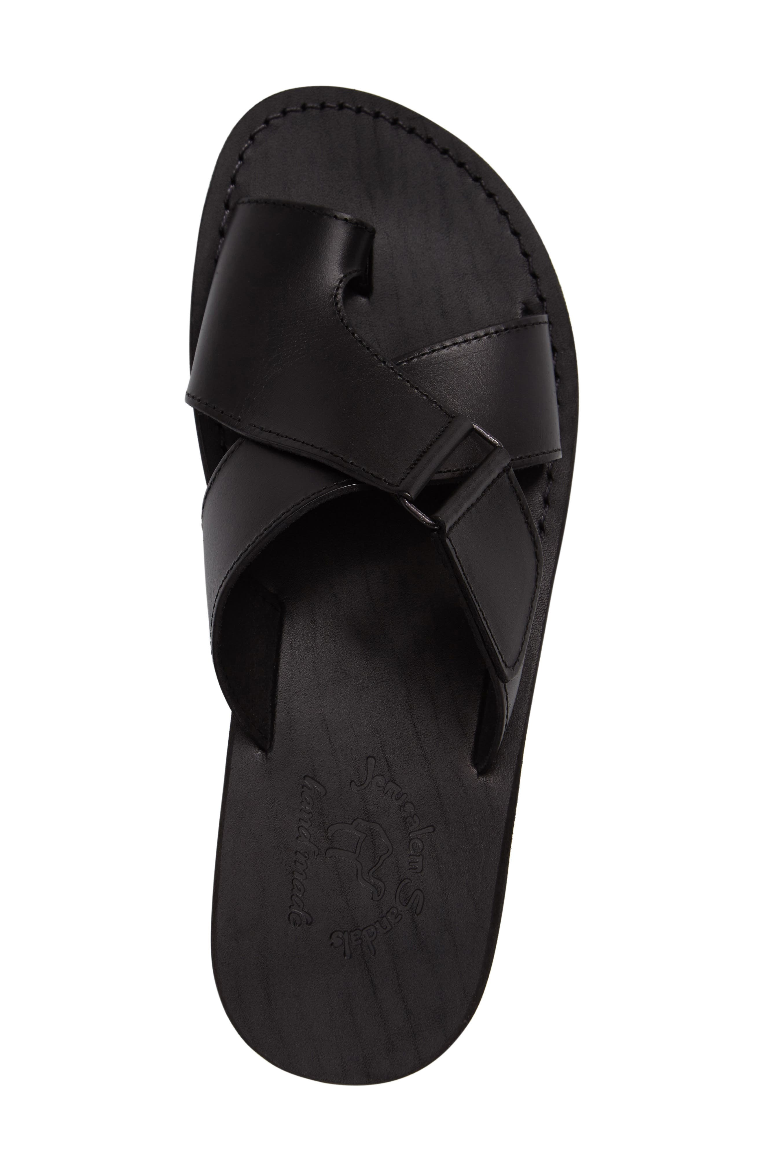 JERUSALEM SANDALS, Asher Slide Sandal, Alternate thumbnail 3, color, BLACK LEATHER