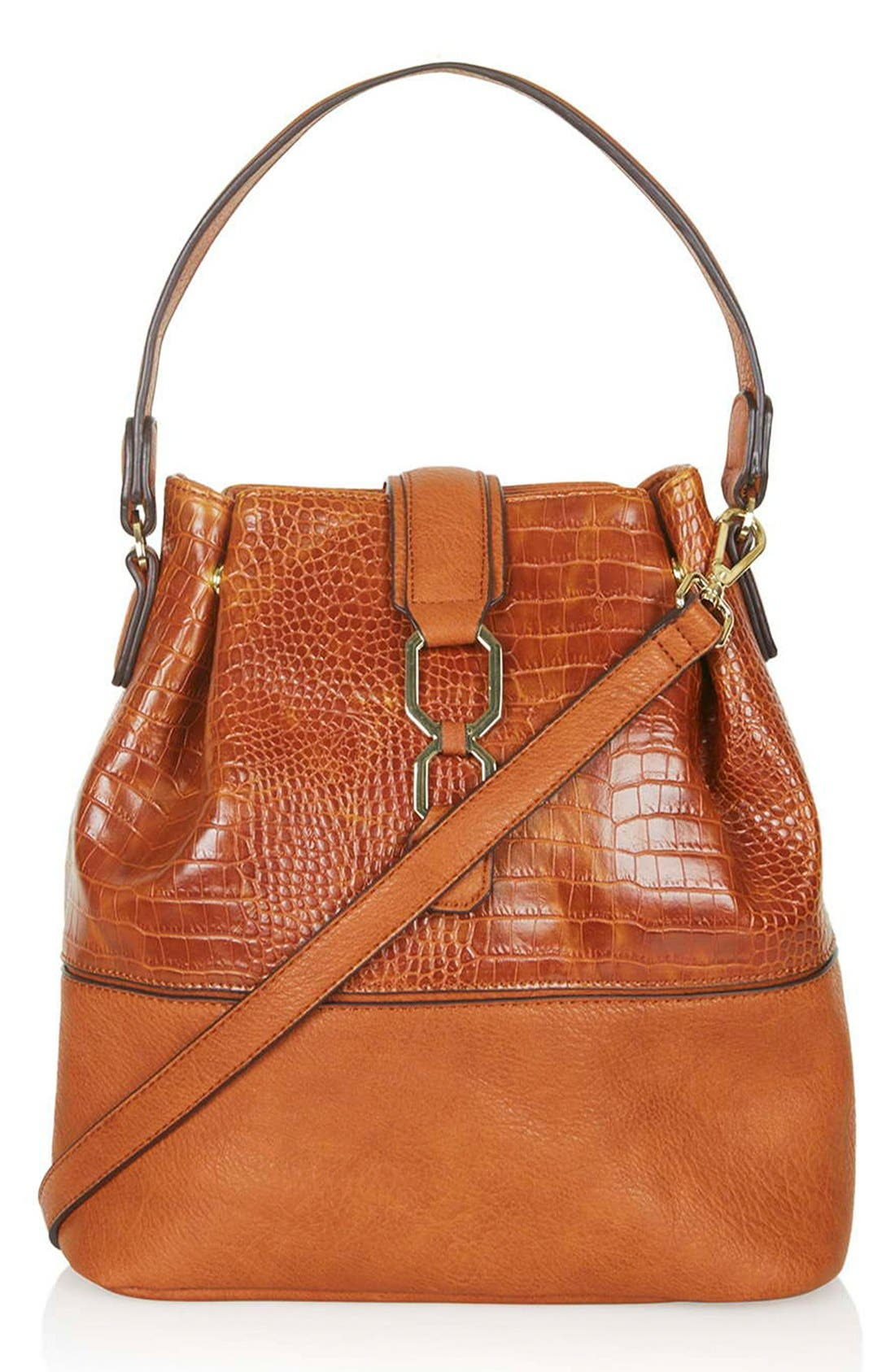TOPSHOP Embossed Faux Leather Bucket Bag, Main, color, 210