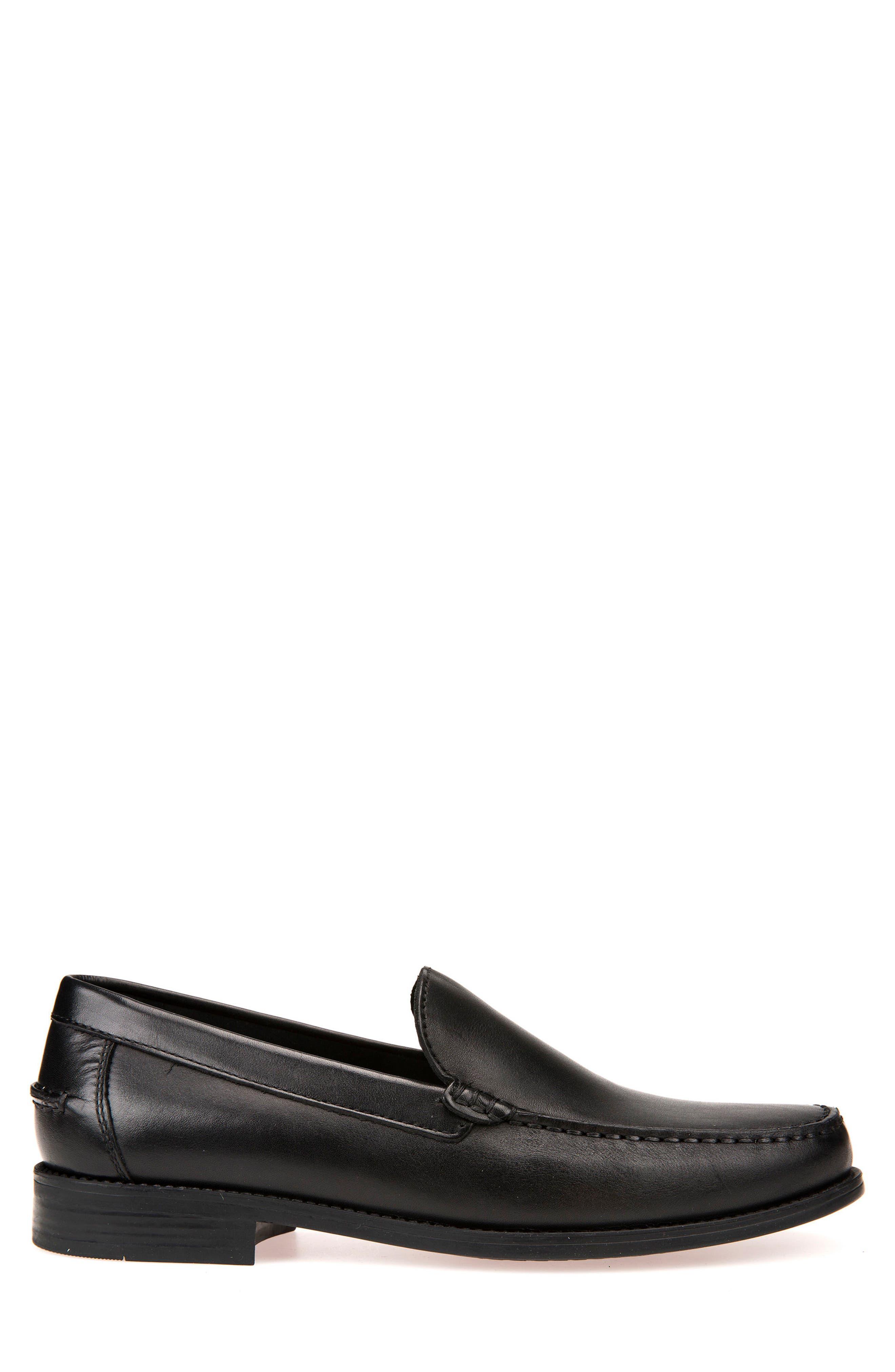 GEOX, New Damon 2 Venetian Slip-On Shoe, Alternate thumbnail 3, color, BLACK LEATHER
