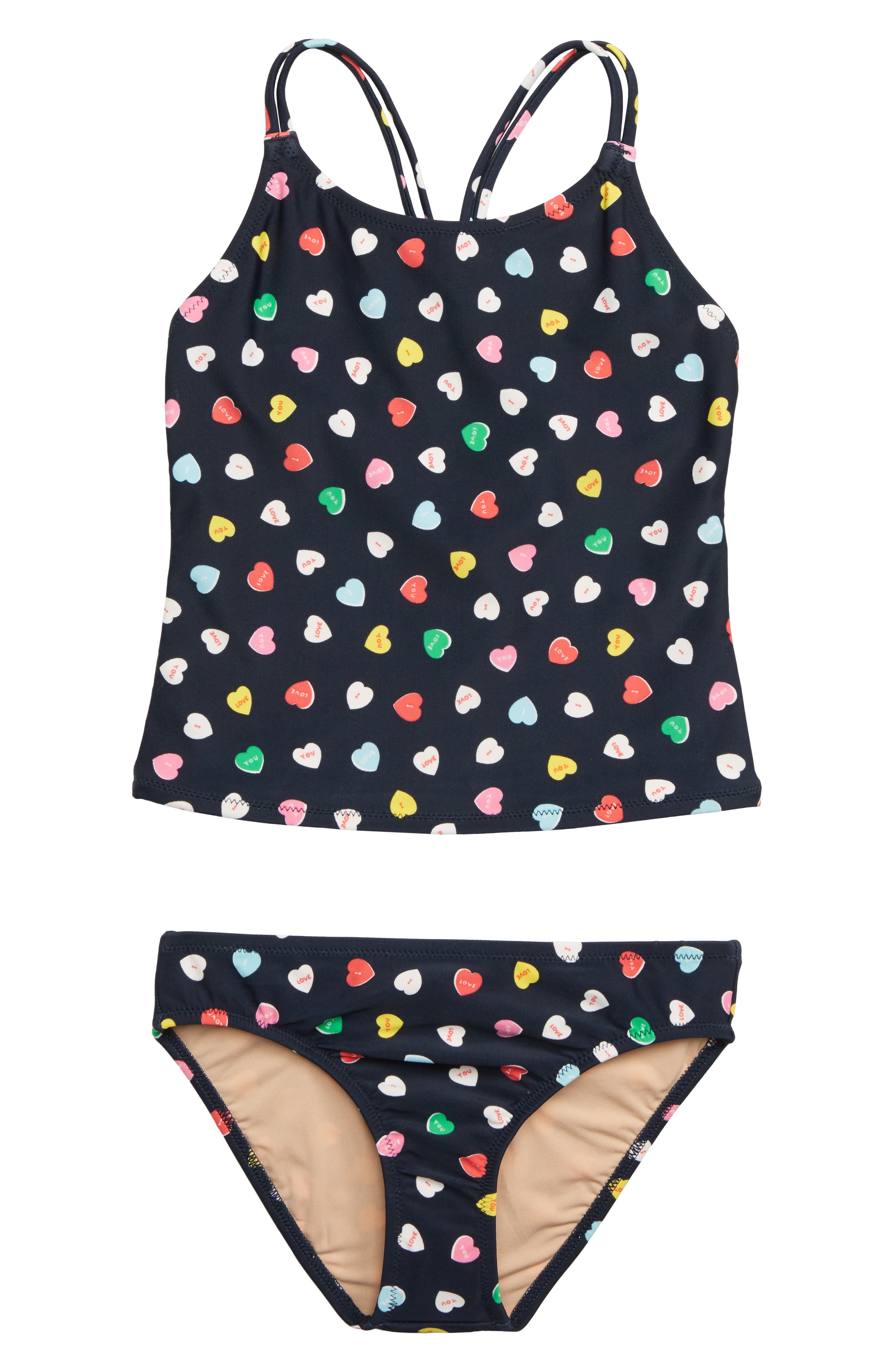 CREWCUTS BY J.CREW Tankini Two-Piece Swimsuit, Main, color, PINK RED MULTI WX3623