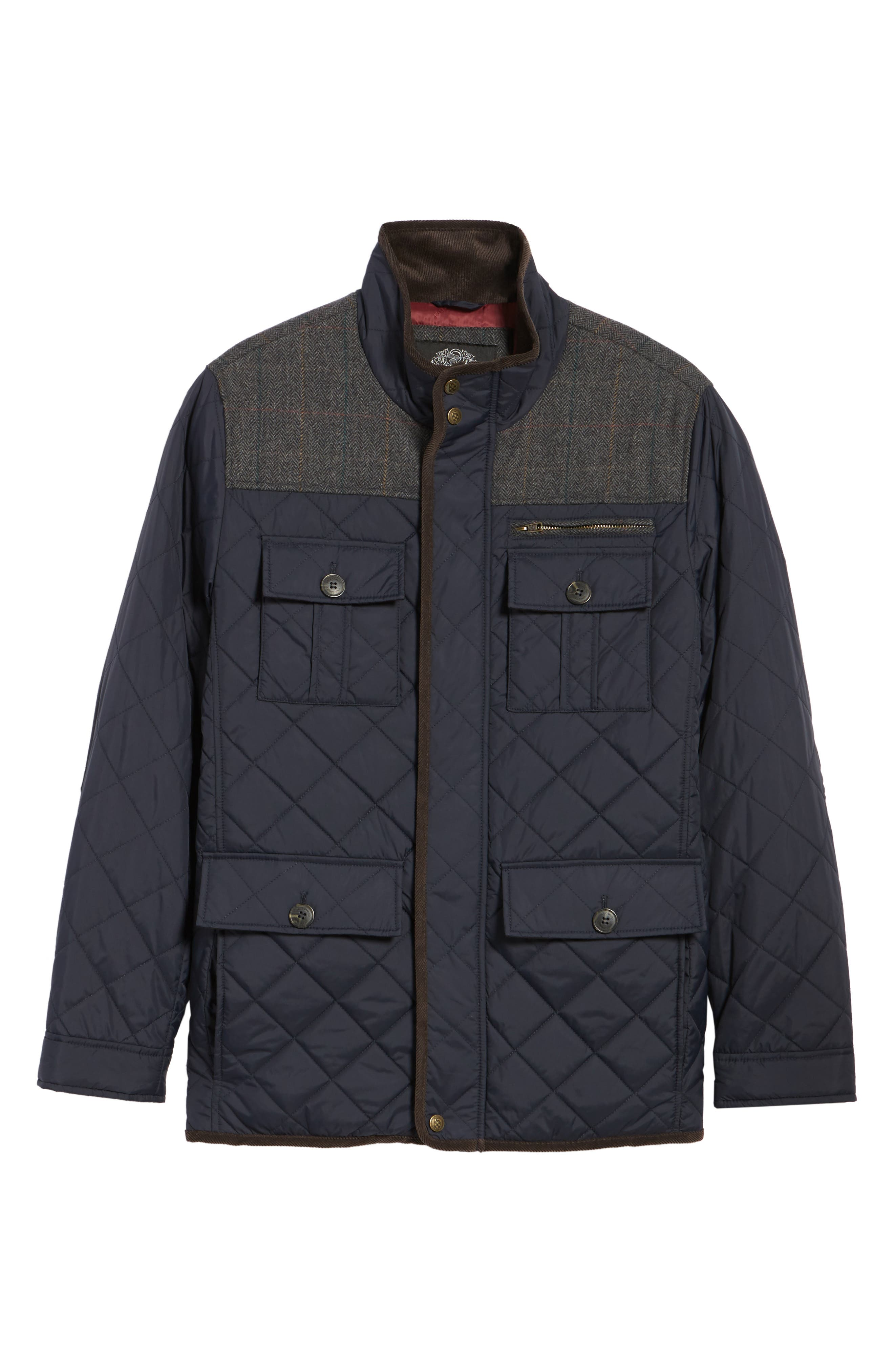 VINCE CAMUTO, Diamond Quilted Full Zip Jacket, Alternate thumbnail 7, color, NAVY