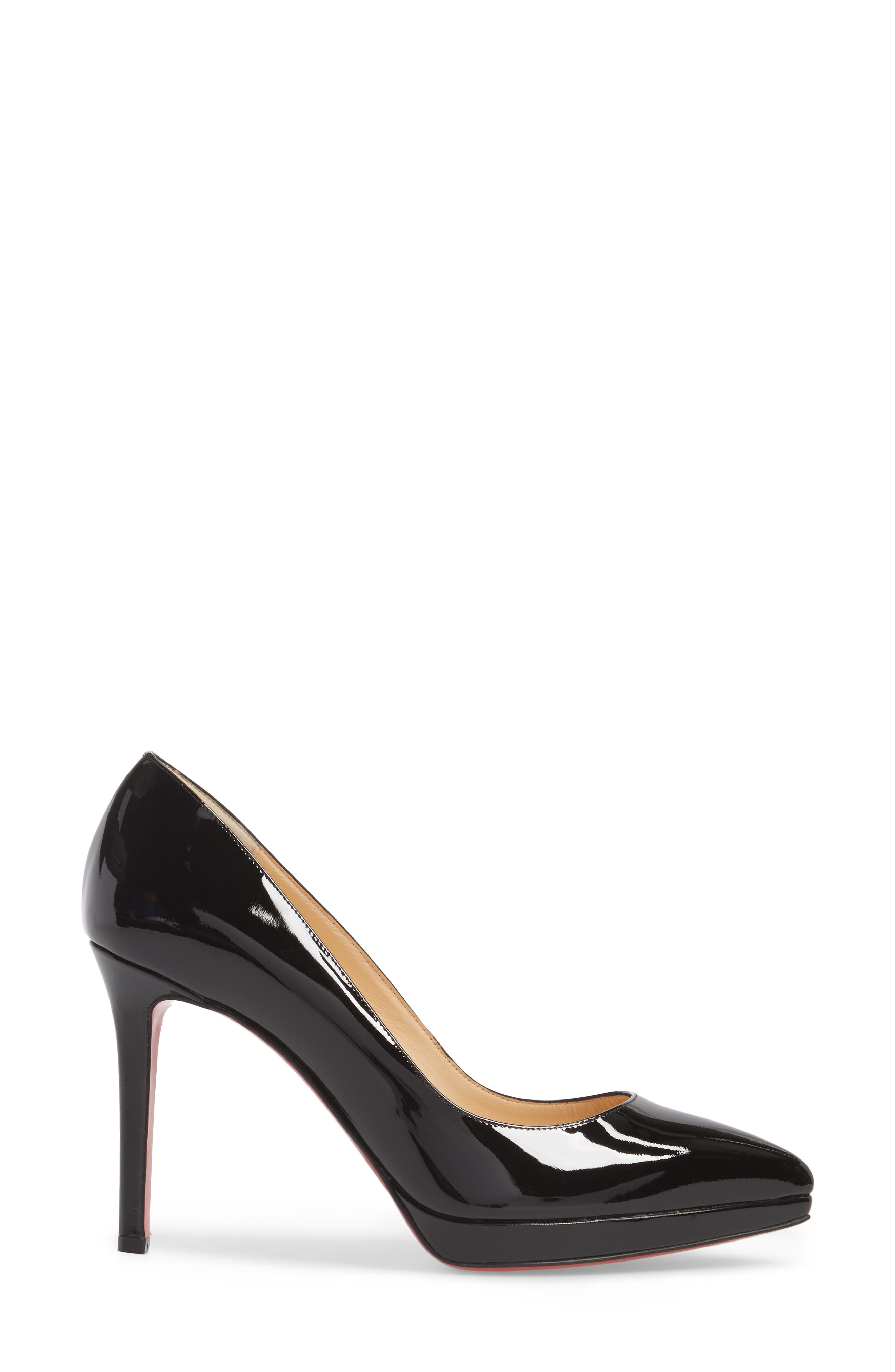 CHRISTIAN LOUBOUTIN, Pigalle Plato Pointy Toe Platform Pump, Alternate thumbnail 3, color, BLACK PATENT