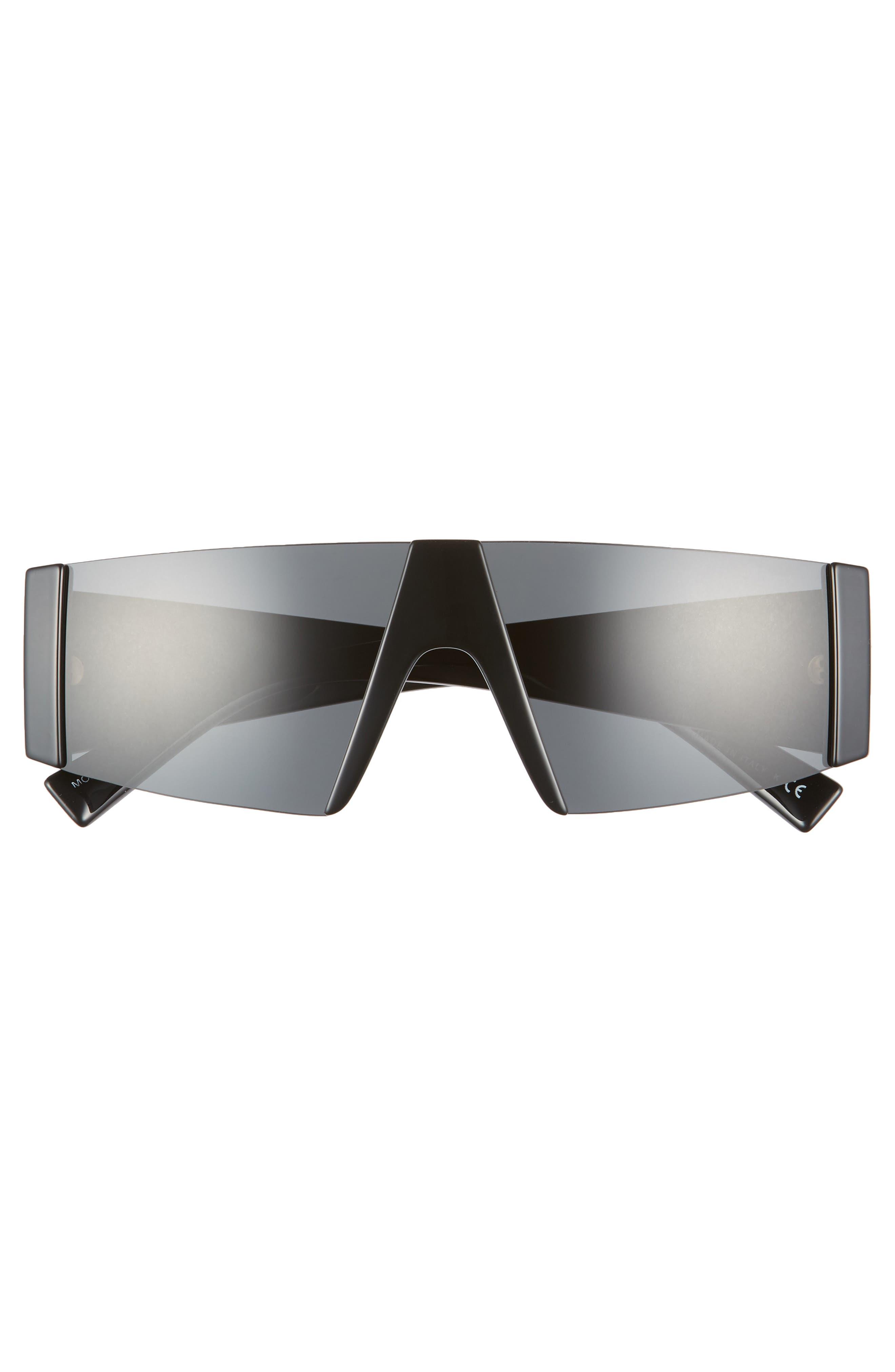 VERSACE, 55mm Shield Sunglasses, Alternate thumbnail 2, color, BLACK