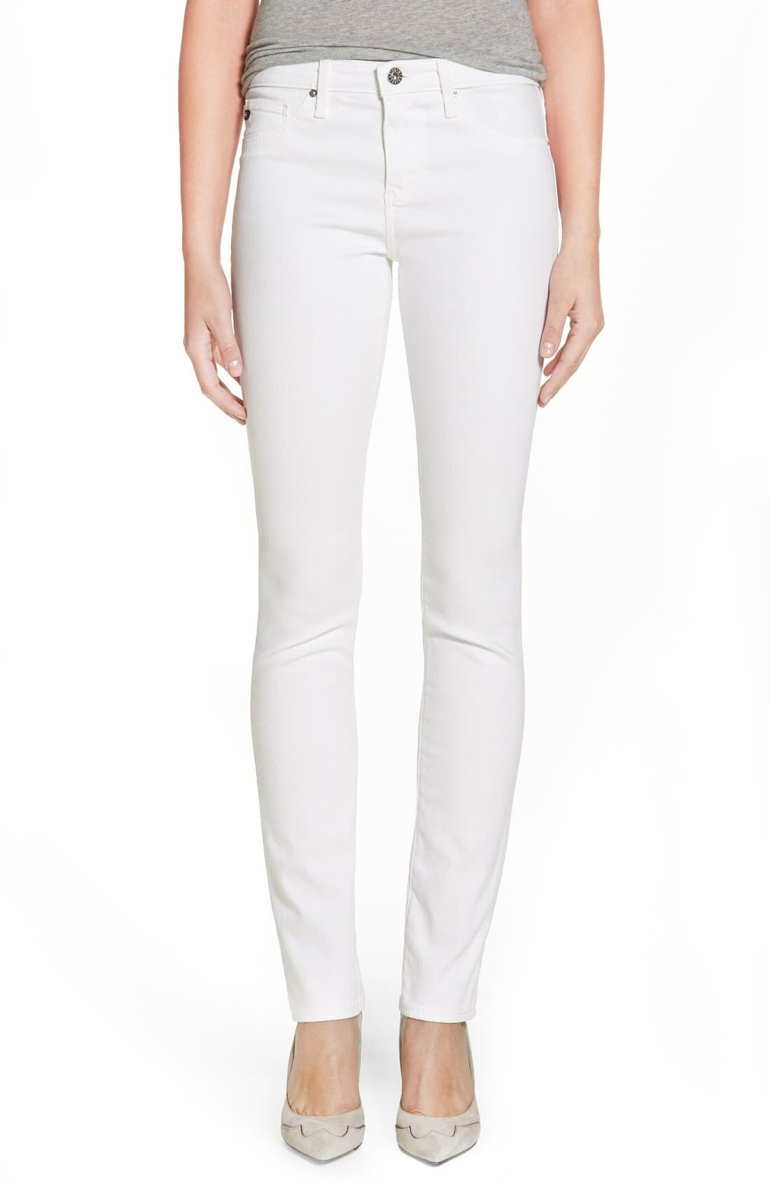 AG, 'Harper' Slim Straight Leg Jeans, Main thumbnail 1, color, WHITE