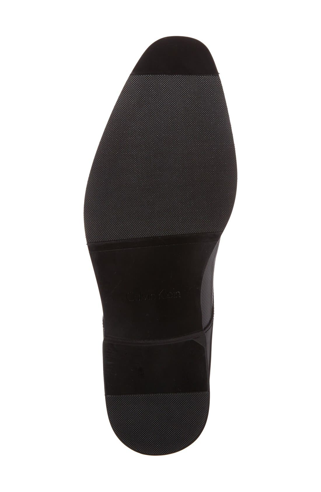 CALVIN KLEIN, 'Ramses' Plain Toe Derby, Alternate thumbnail 4, color, BLACK LEATHER