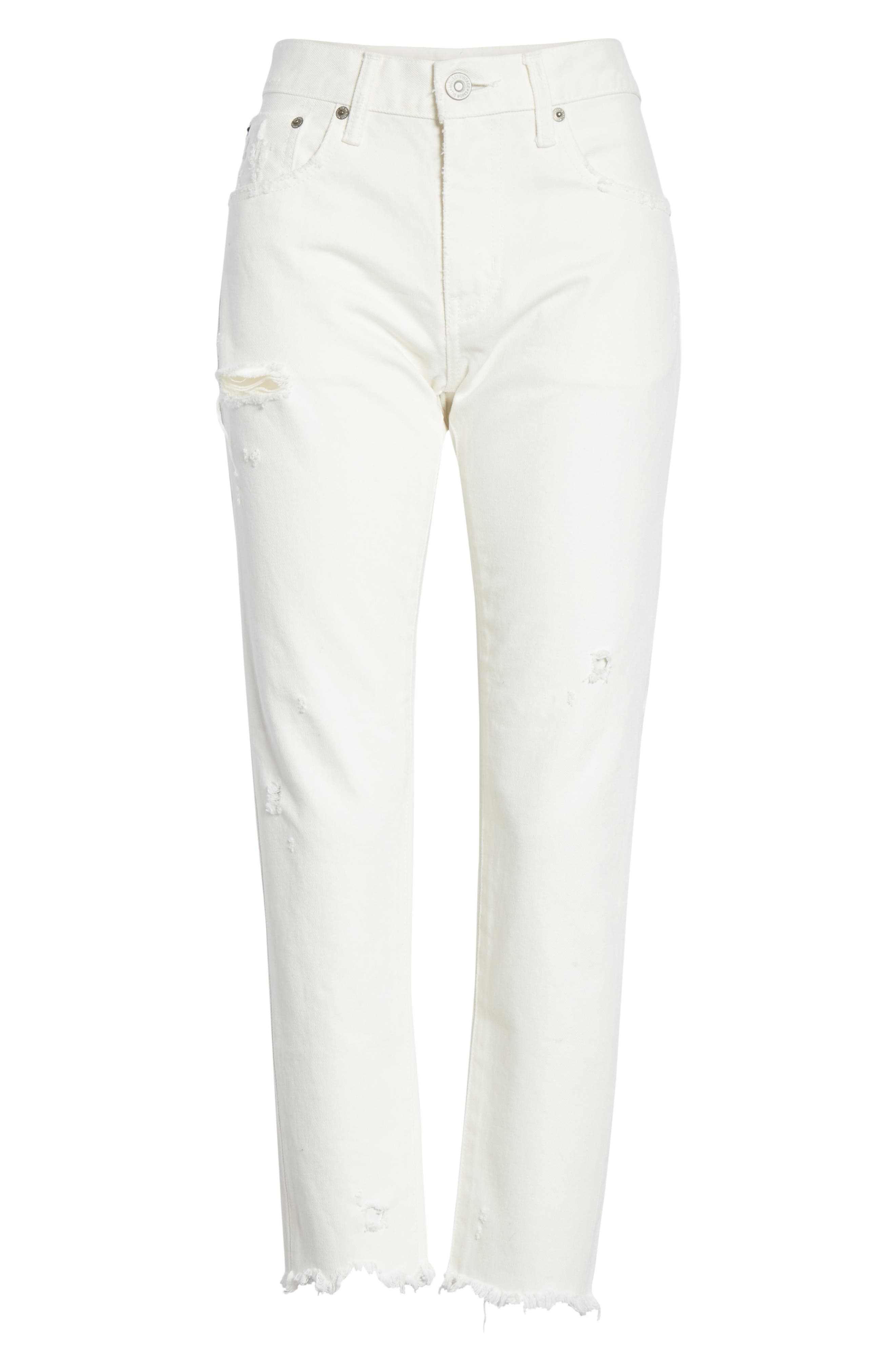 MOUSSY VINTAGE, Kelley Tapered Crop Jeans, Alternate thumbnail 6, color, WHITE