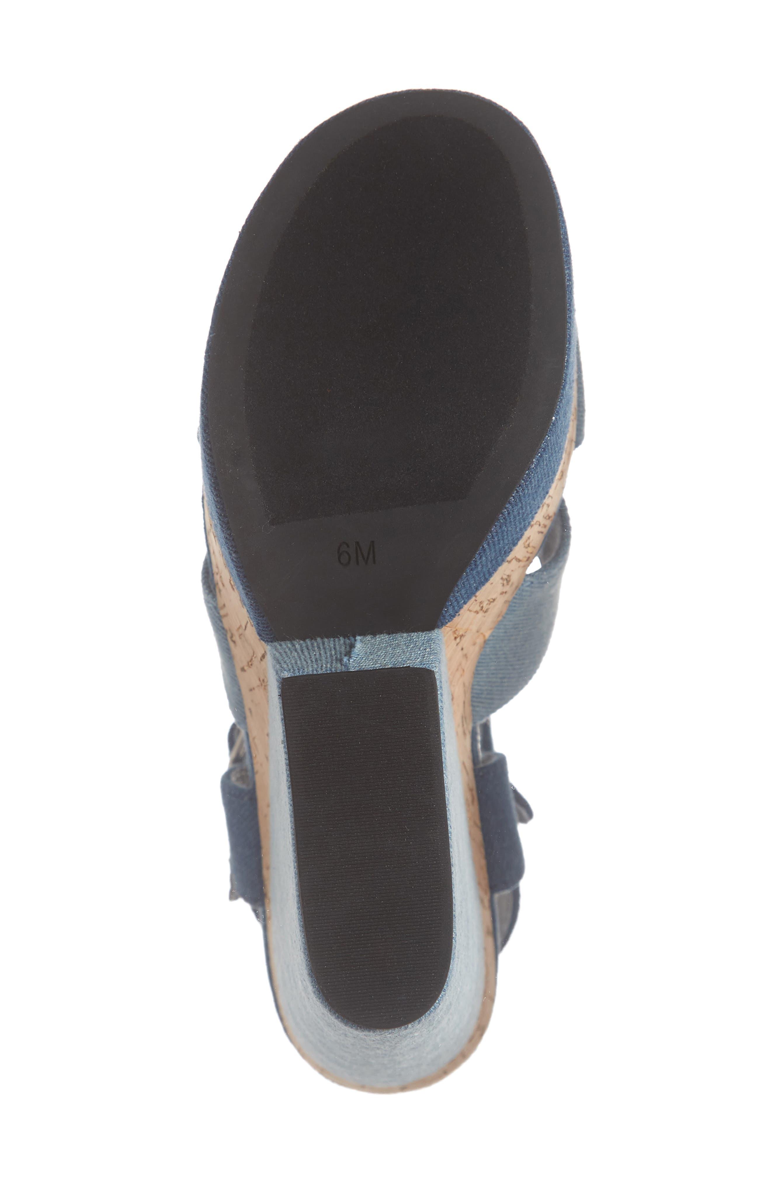 JEFFREY CAMPBELL, Wedge Platform Sandal, Alternate thumbnail 6, color, BLUE DENIM COMBO/ CORK