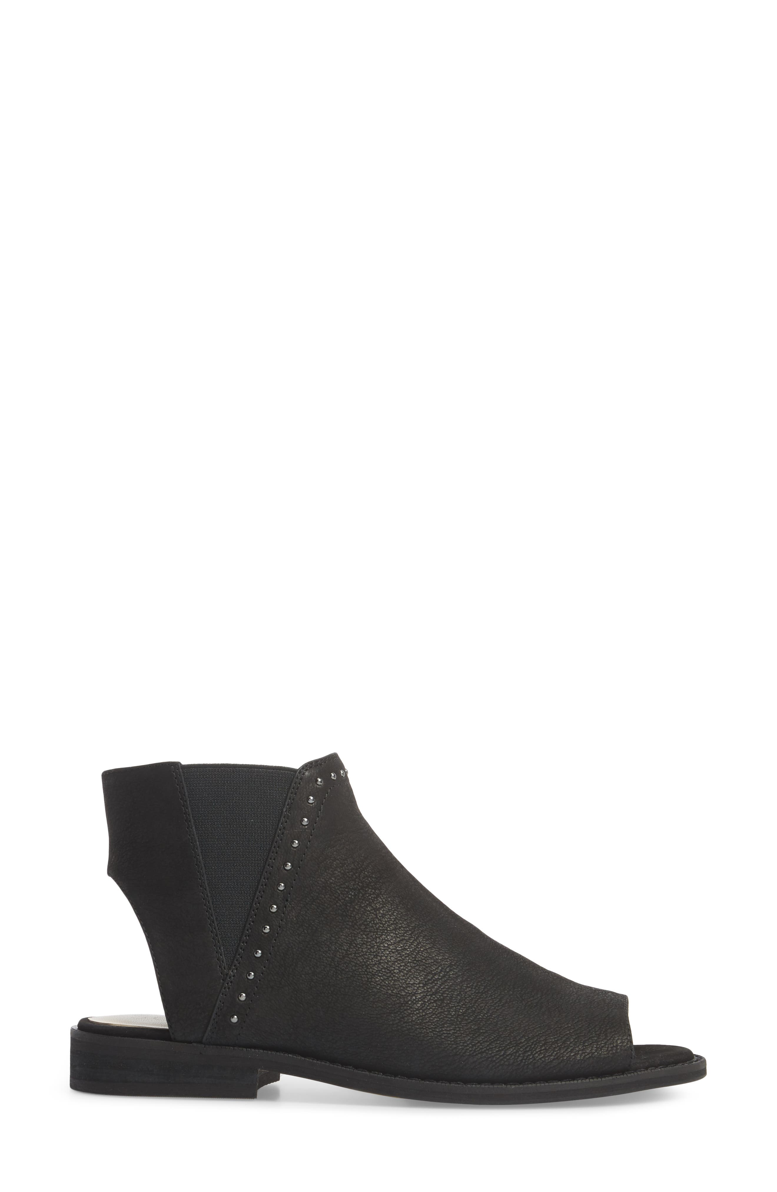SOLE SOCIETY, Birty Bootie, Alternate thumbnail 3, color, BLACK