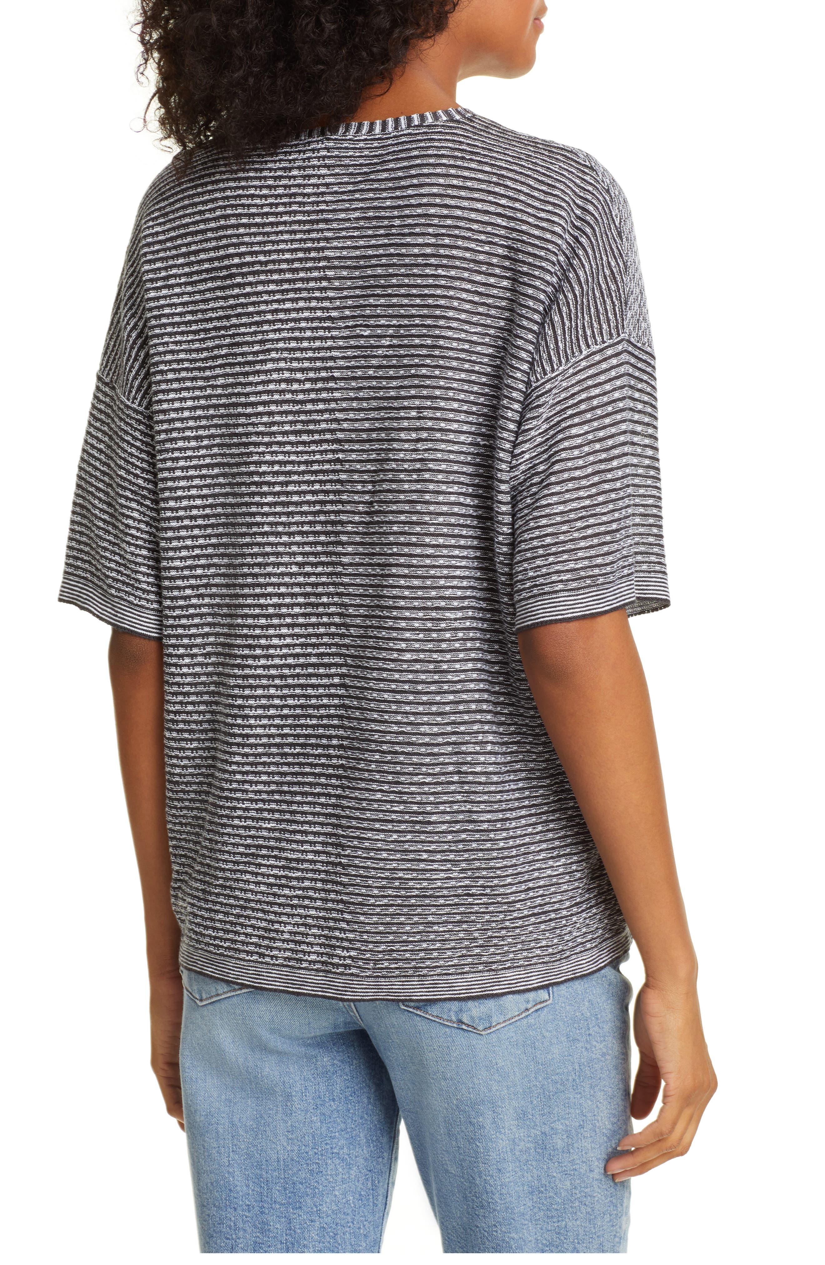 EILEEN FISHER, Organic Linen Jacquard Sweater, Alternate thumbnail 2, color, IVORY
