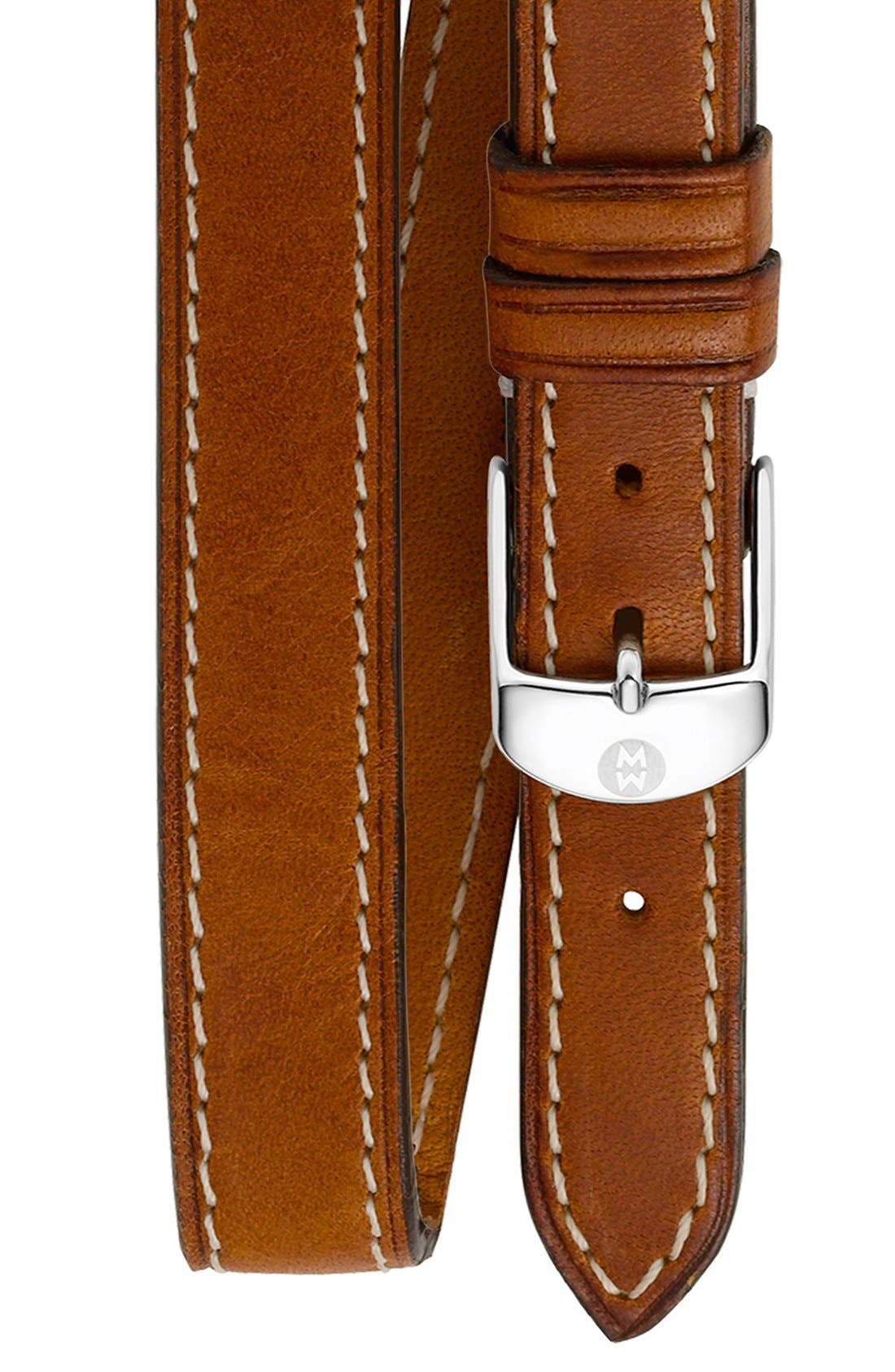MICHELE 18mm Leather Double Wrap Watch Strap, Main, color, LIGHT BROWN