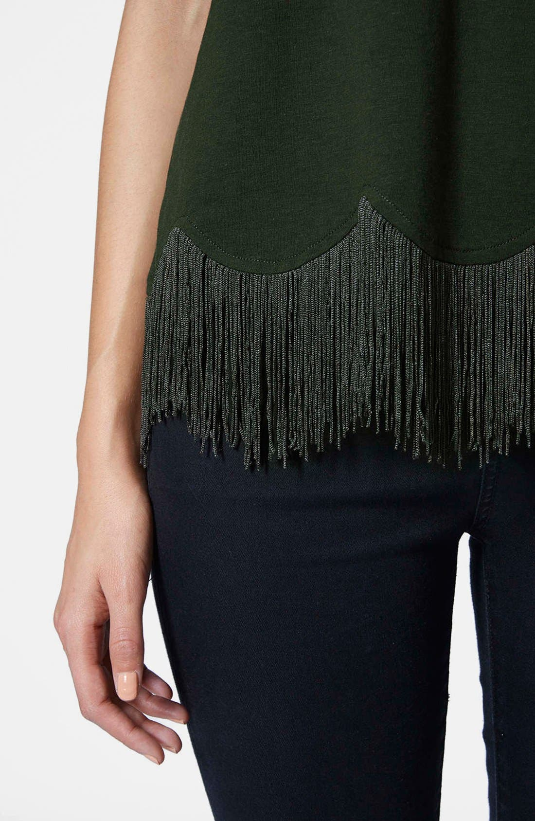 TOPSHOP, Fringe Scallop Tee, Alternate thumbnail 4, color, 301