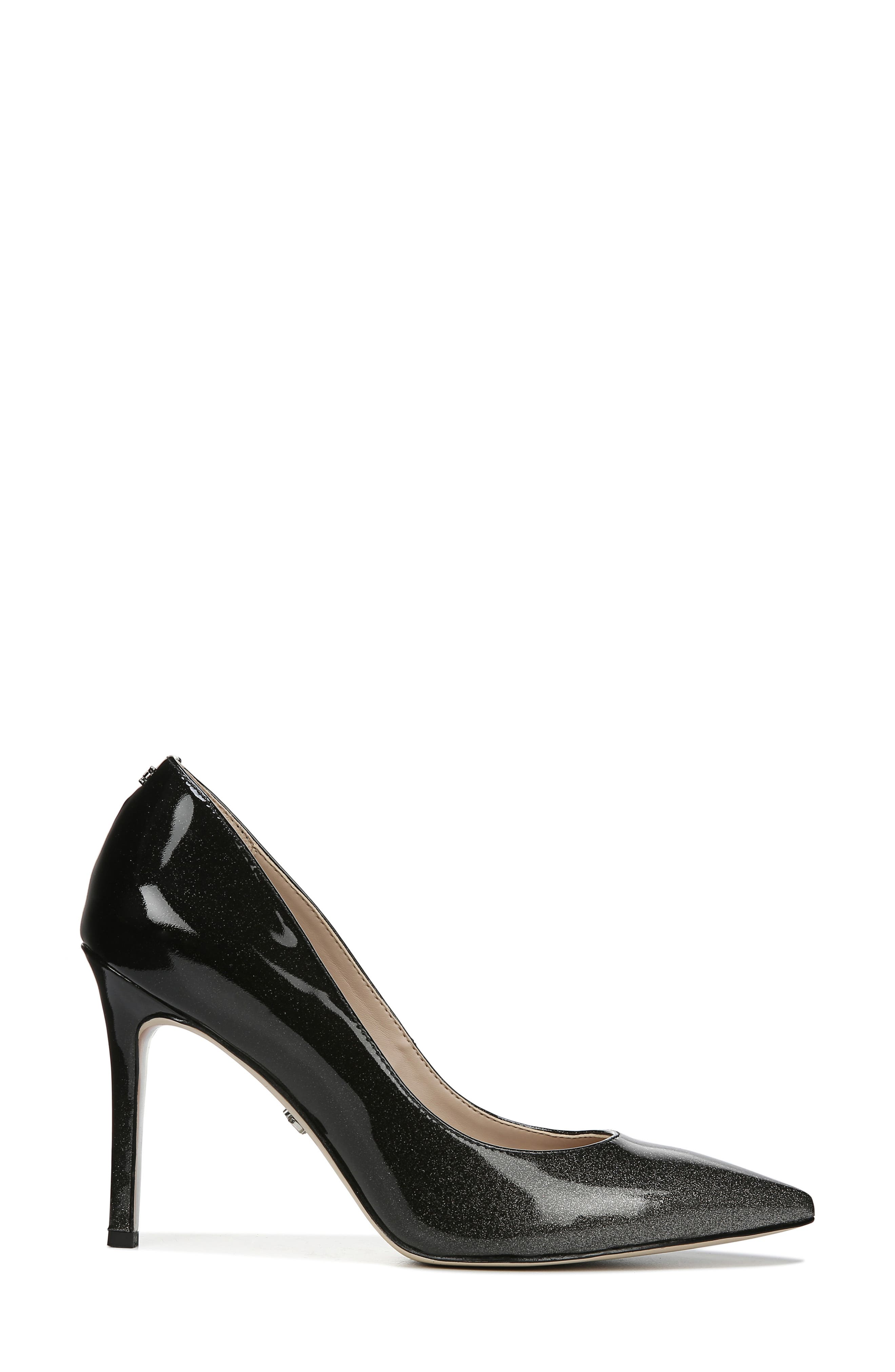 SAM EDELMAN, Hazel Pointy Toe Pump, Alternate thumbnail 2, color, BLACK/ SILVER