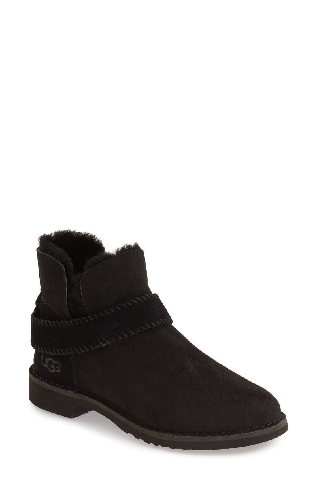UGG<SUP>®</SUP>, McKay Water Resistant Bootie, Main thumbnail 1, color, BLACK SUEDE
