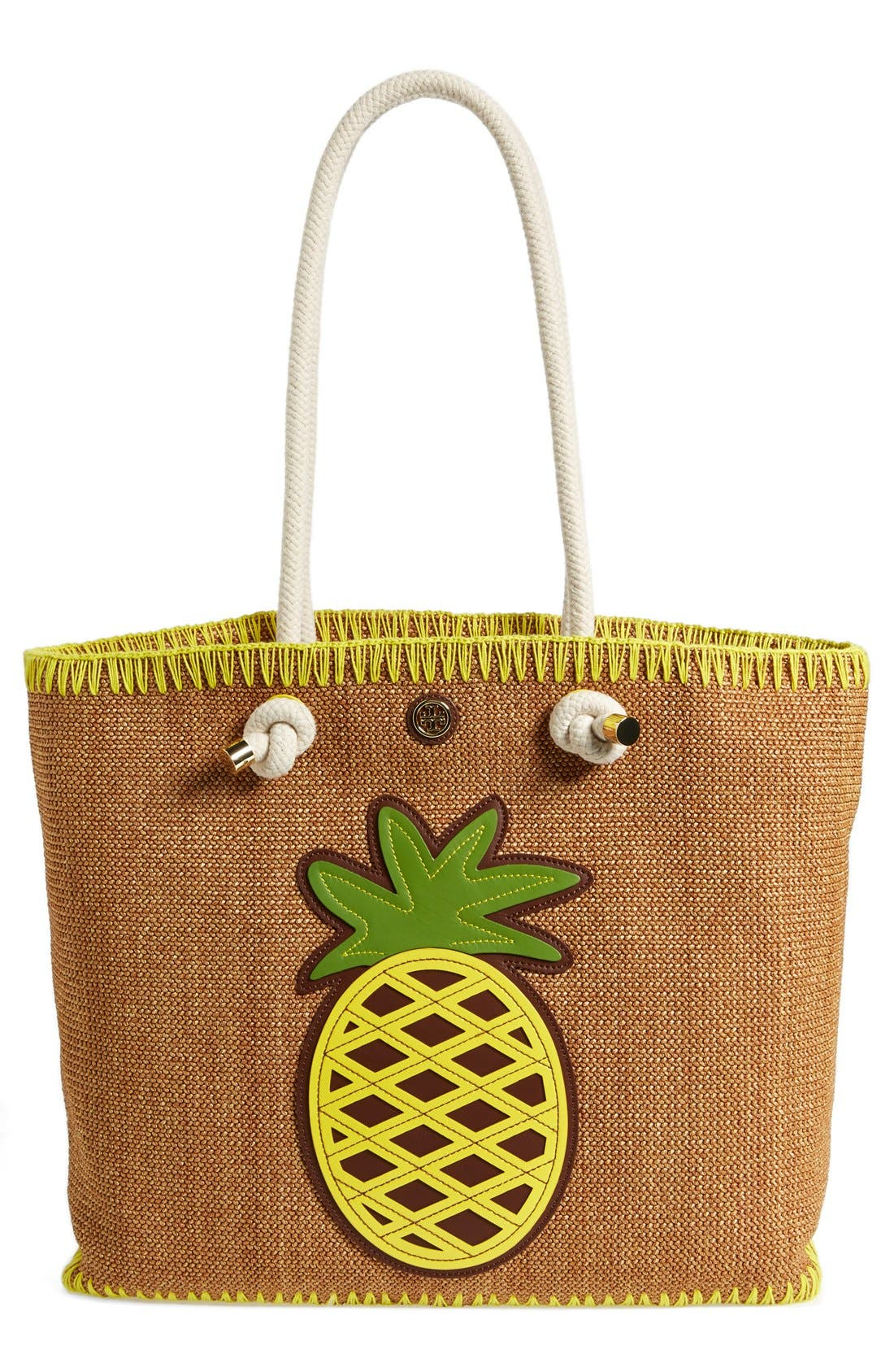 TORY BURCH 'Pineapple' Woven Tote, Main, color, 200