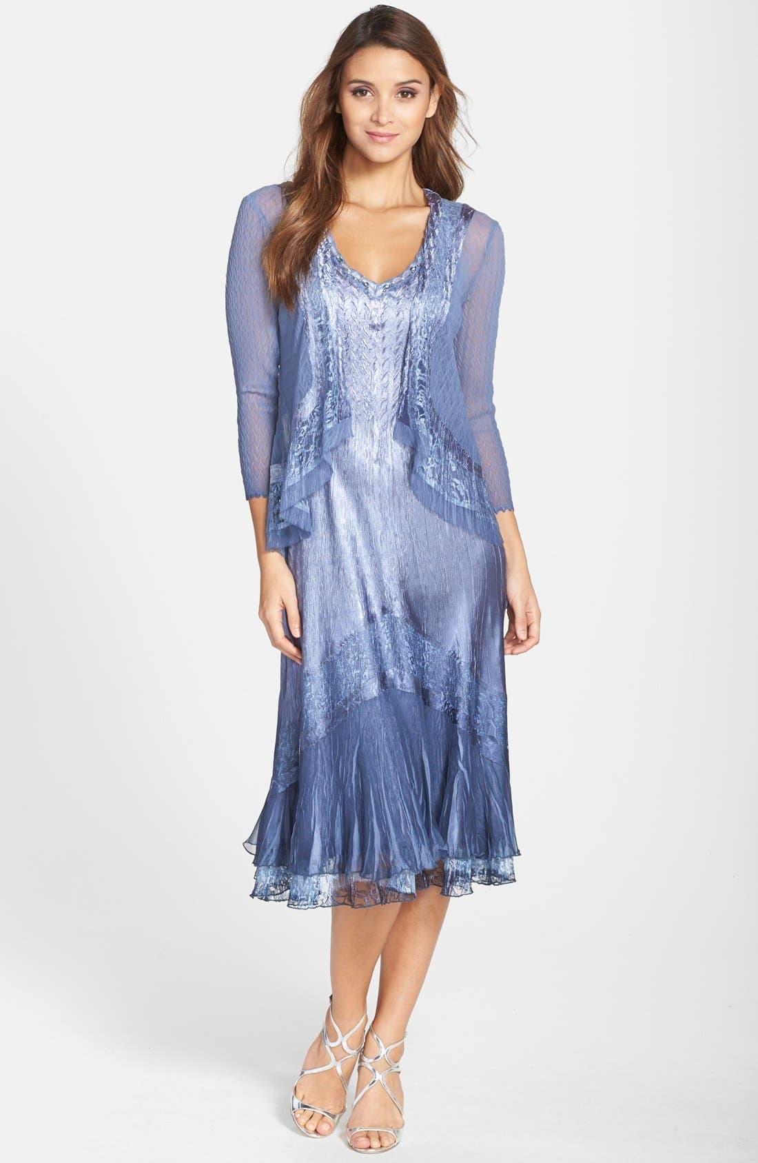 KOMAROV Embellished Lace Trim Charmeuse Dress & Jacket, Main, color, 500