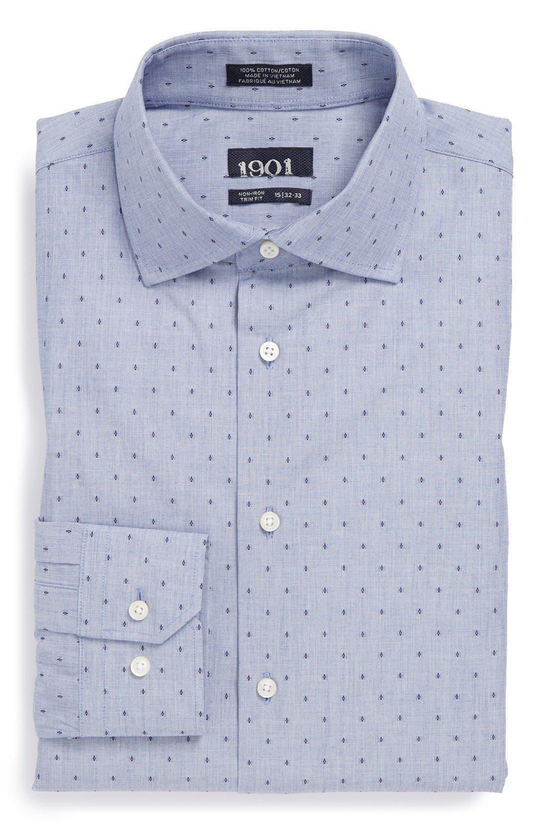 1901, Non-Iron Trim Fit Dobby Dress Shirt, Main thumbnail 1, color, 450