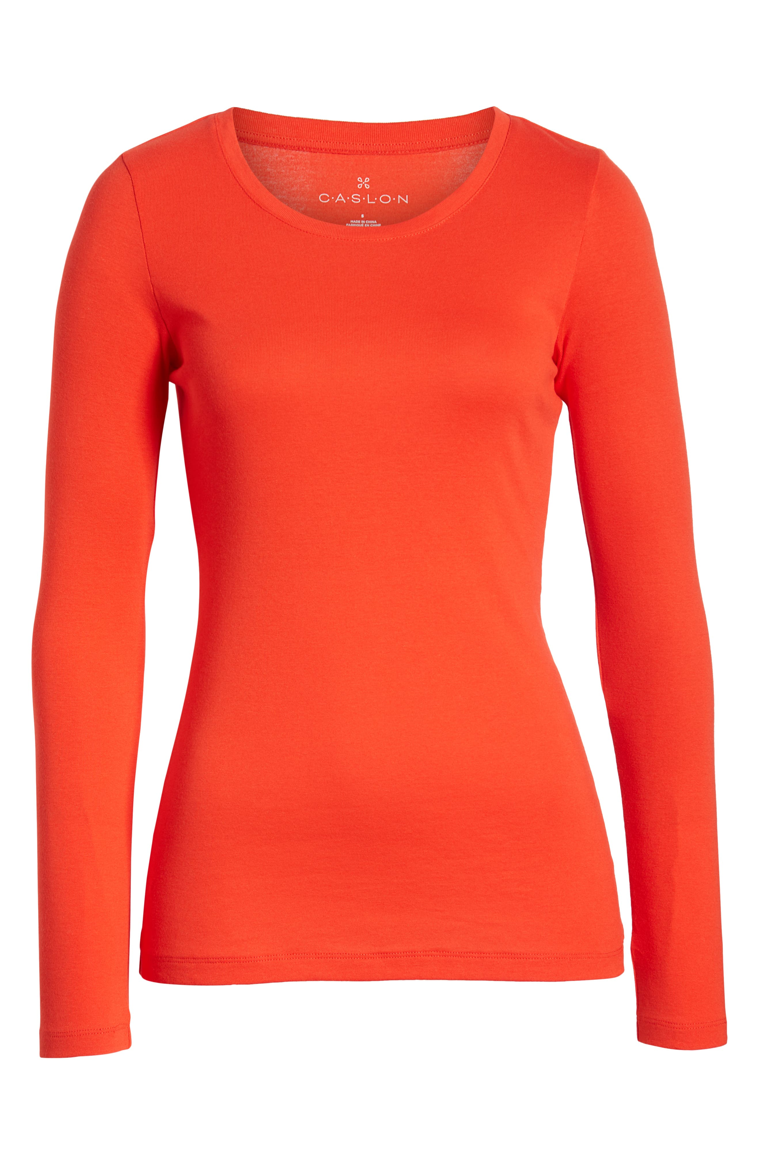 CASLON<SUP>®</SUP>, Long Sleeve Scoop Neck Cotton Tee, Alternate thumbnail 7, color, RED SCARLET