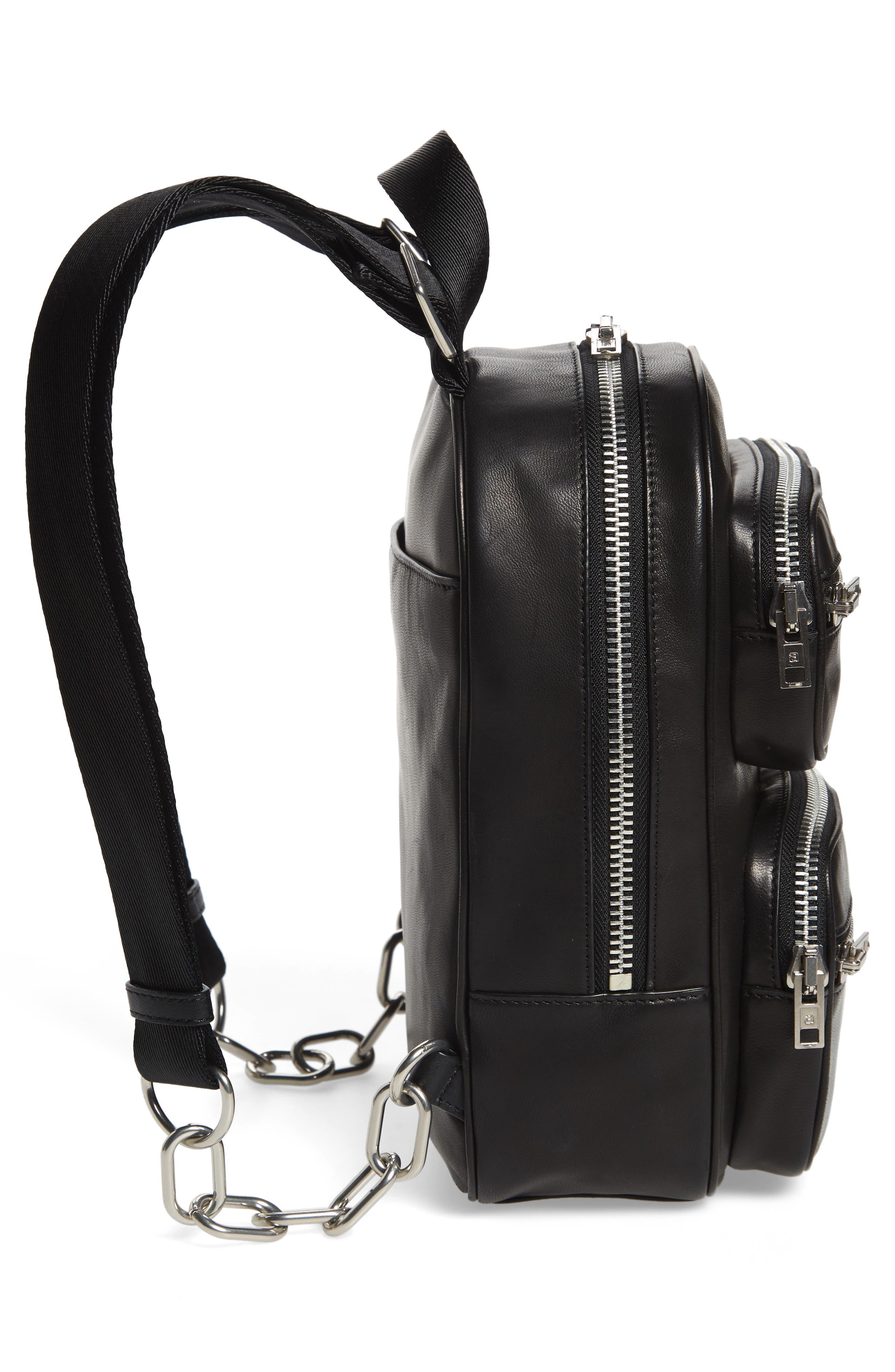 ALEXANDER WANG, Attica Lambskin Leather Backpack, Alternate thumbnail 5, color, BLACK