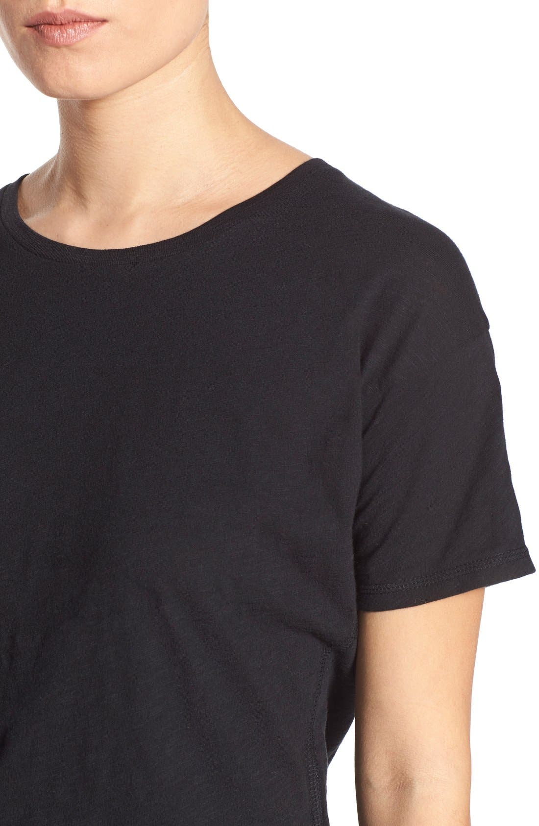 MADEWELL, 'Whisper' Cotton Crewneck Tee, Alternate thumbnail 4, color, TRUE BLACK