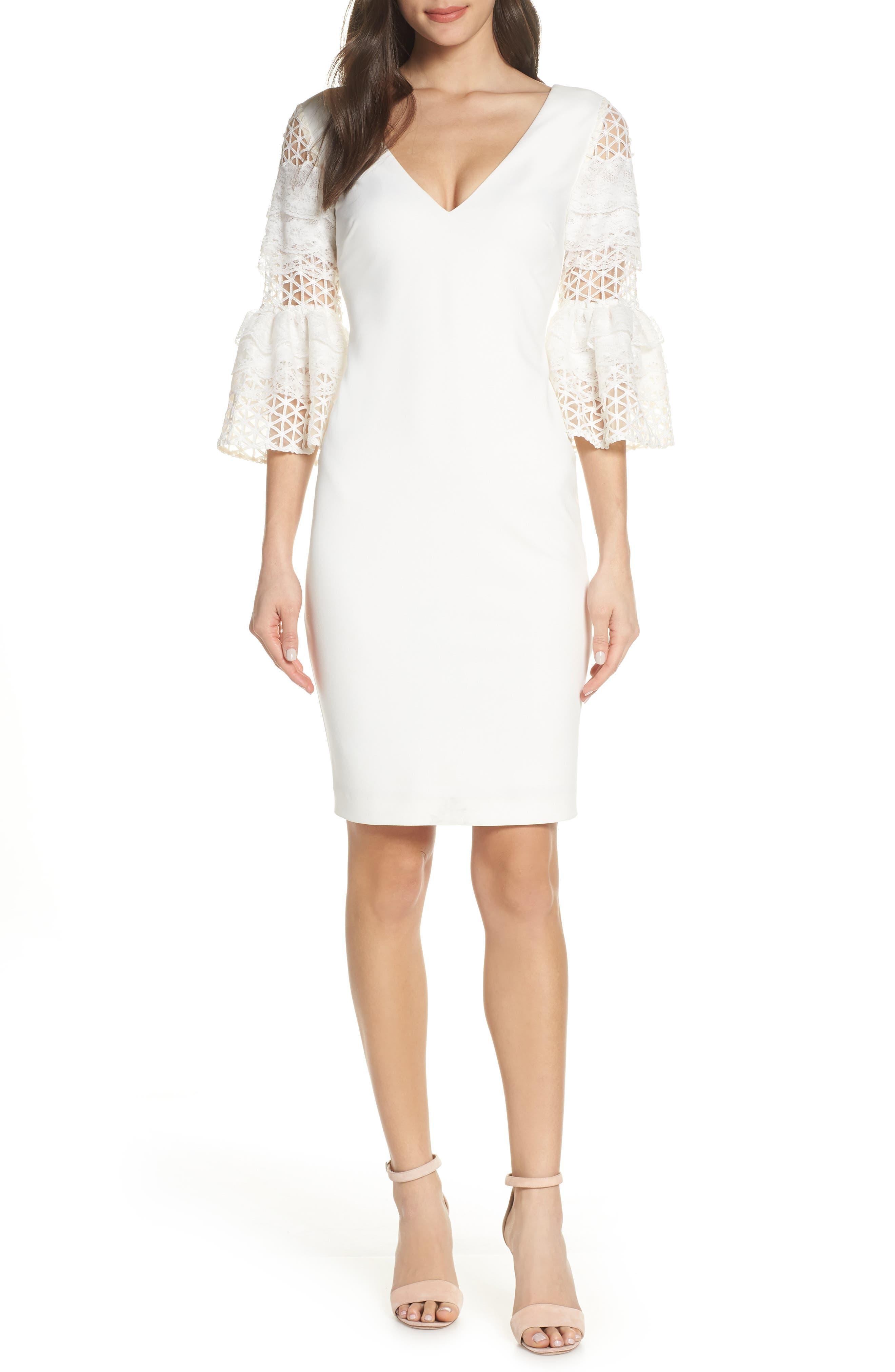 Mark + James By Badgley Mischka Lace Sleeve Sheath Dress, White