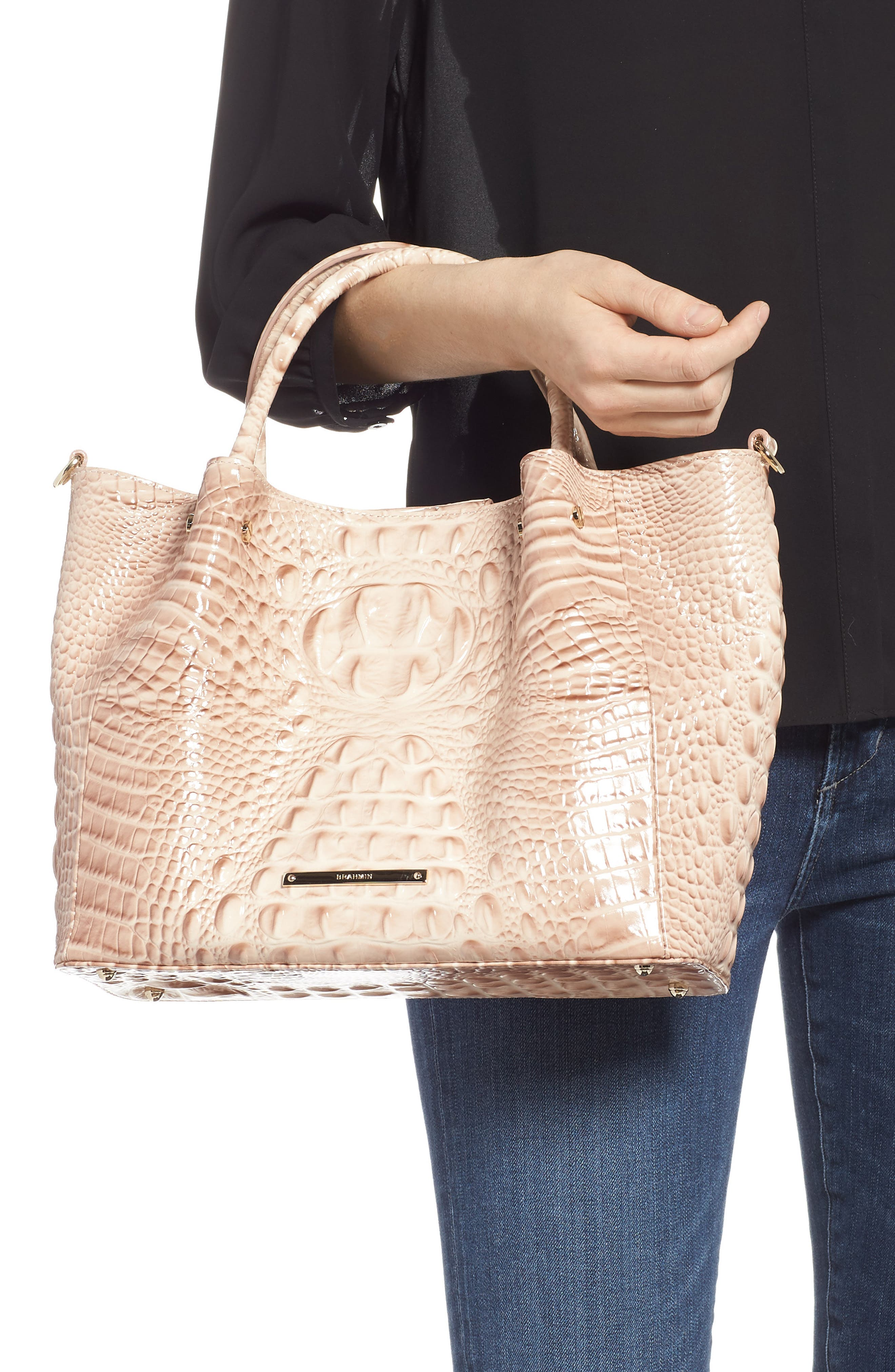 BRAHMIN, Small Mallory Croc Embossed Leather Satchel, Alternate thumbnail 2, color, 650