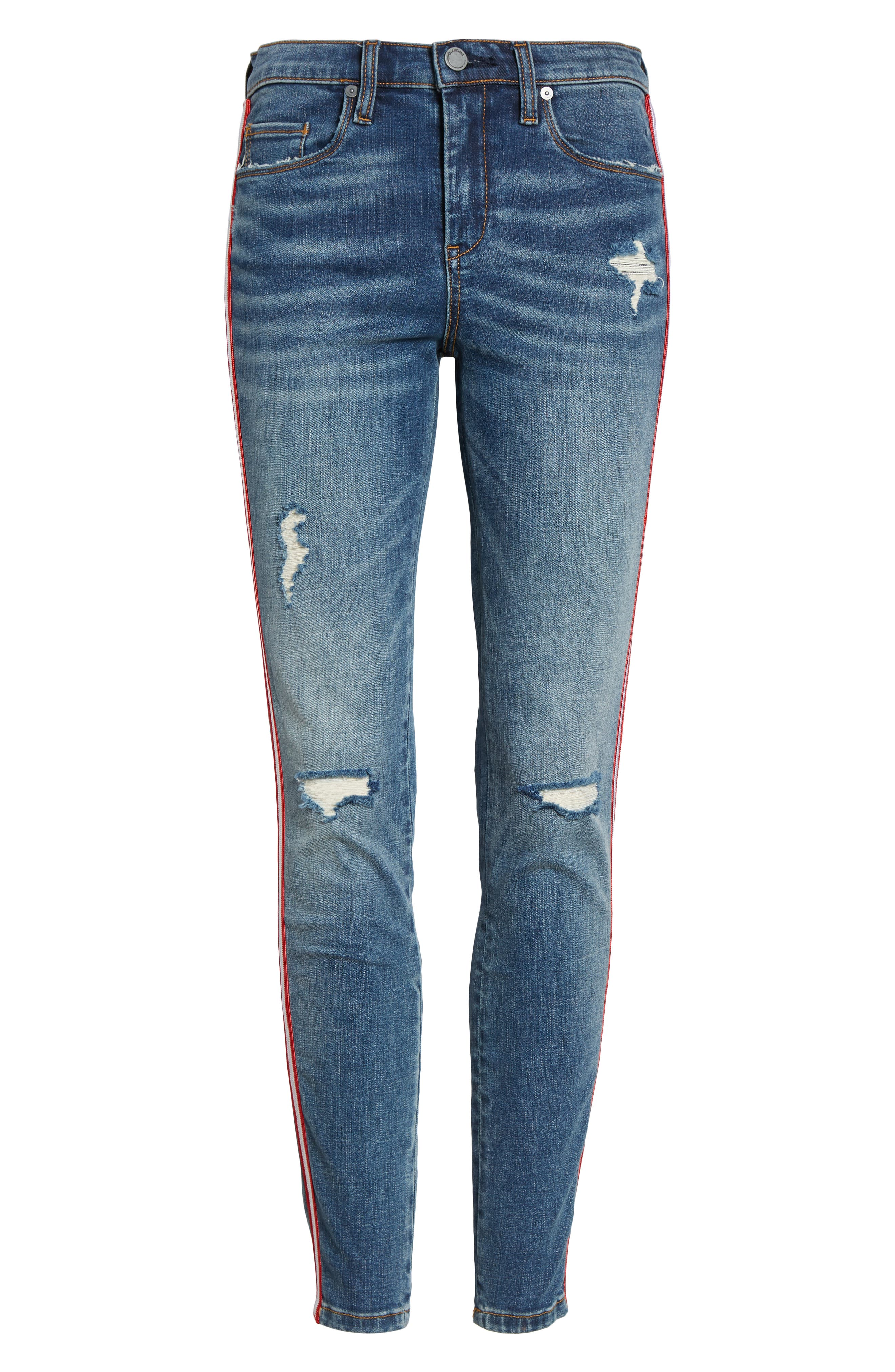 BLANKNYC, Side Stripe Ripped Ankle Skinny Jeans, Alternate thumbnail 7, color, JERSEY GIRL