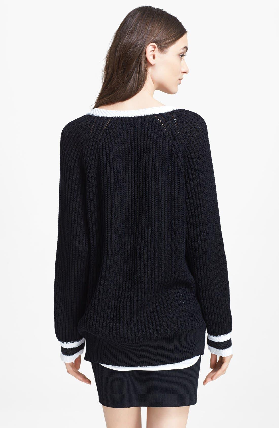 RAG & BONE, 'Talia' V-Neck Sweater, Alternate thumbnail 2, color, 001