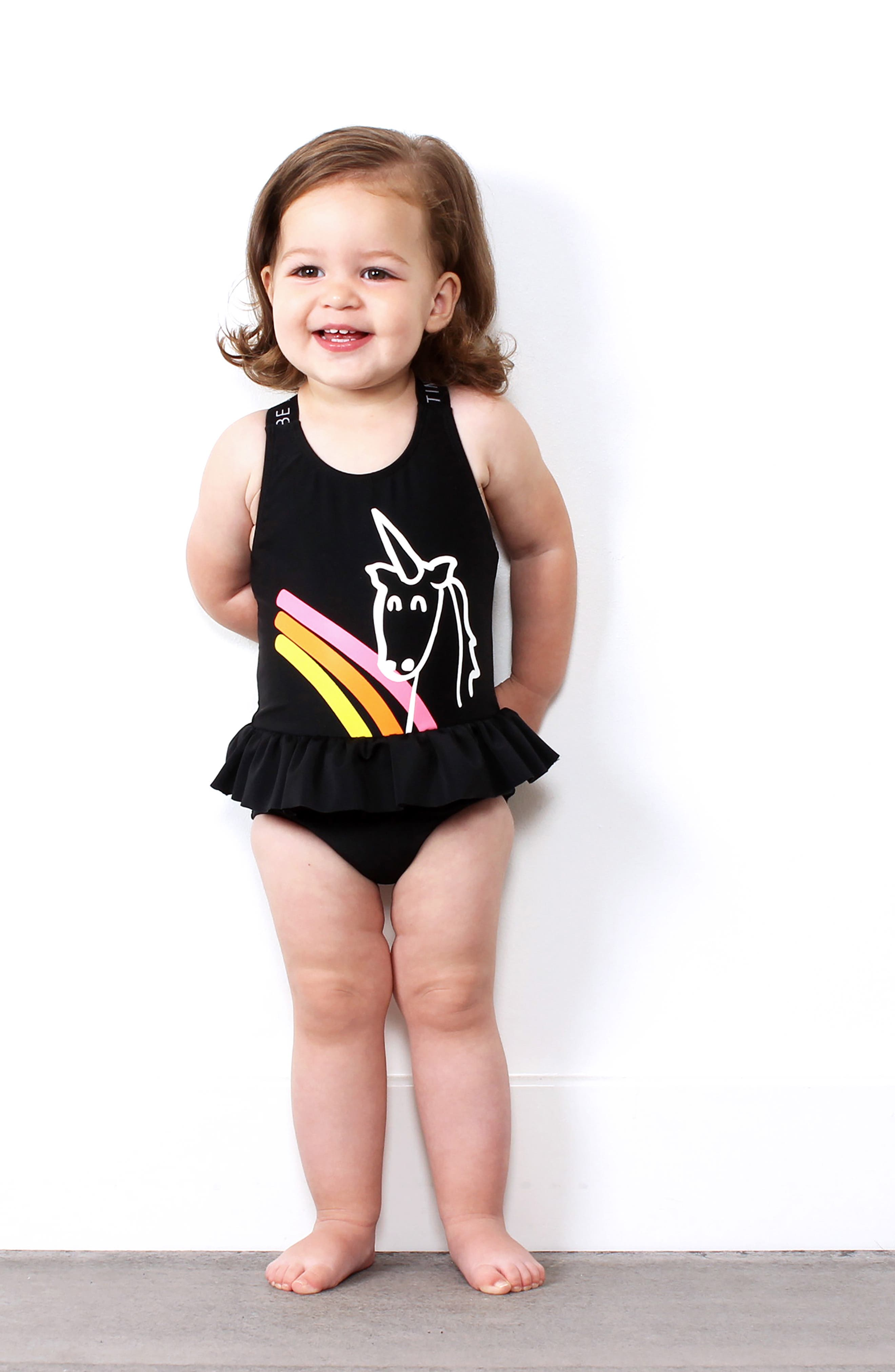 TINY TRIBE, Unicorn Skirted One-Piece Swimsuit, Alternate thumbnail 4, color, 001