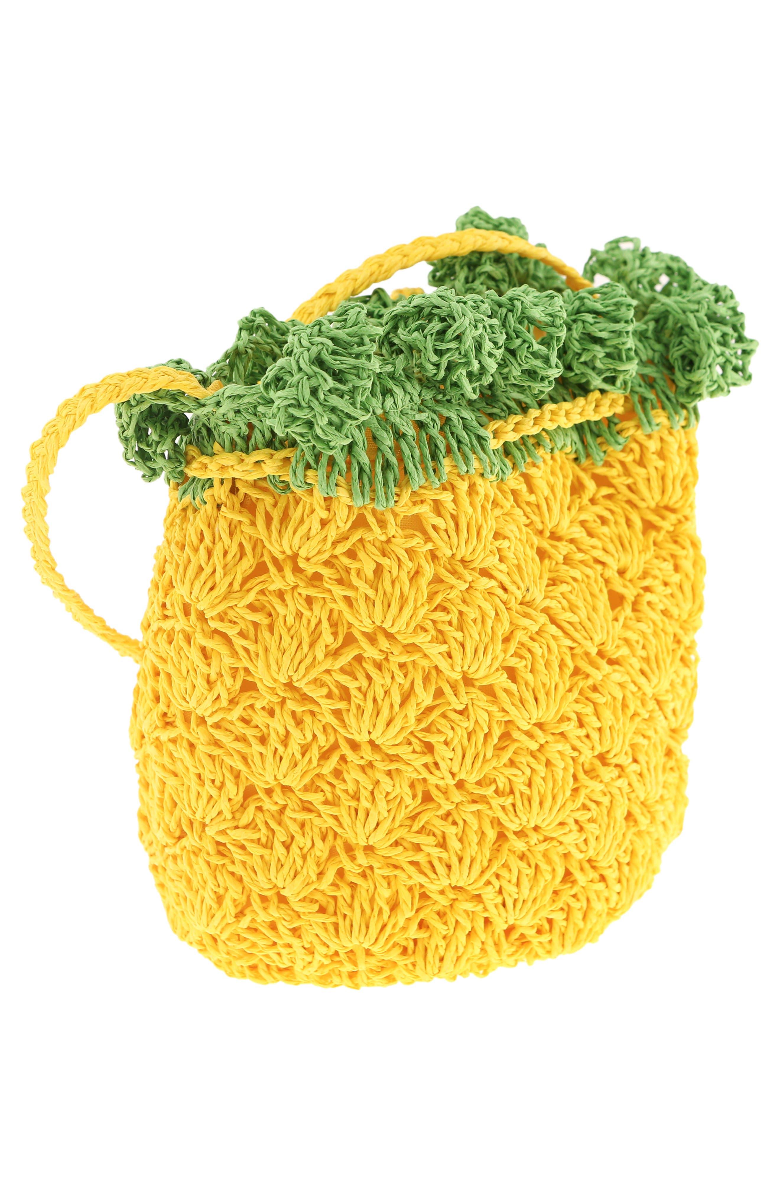 CAPELLI NEW YORK, Crochet Pineapple Crossbody Bag, Alternate thumbnail 2, color, YELLOW COMBO