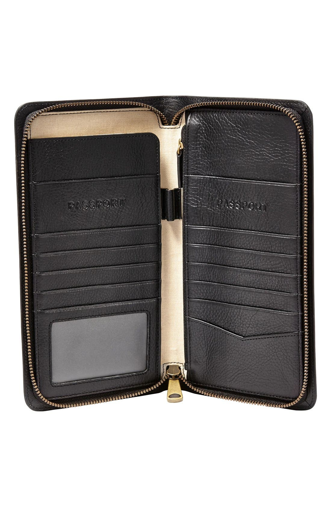FOSSIL, Leather Zip Passport Case, Alternate thumbnail 2, color, BLACK