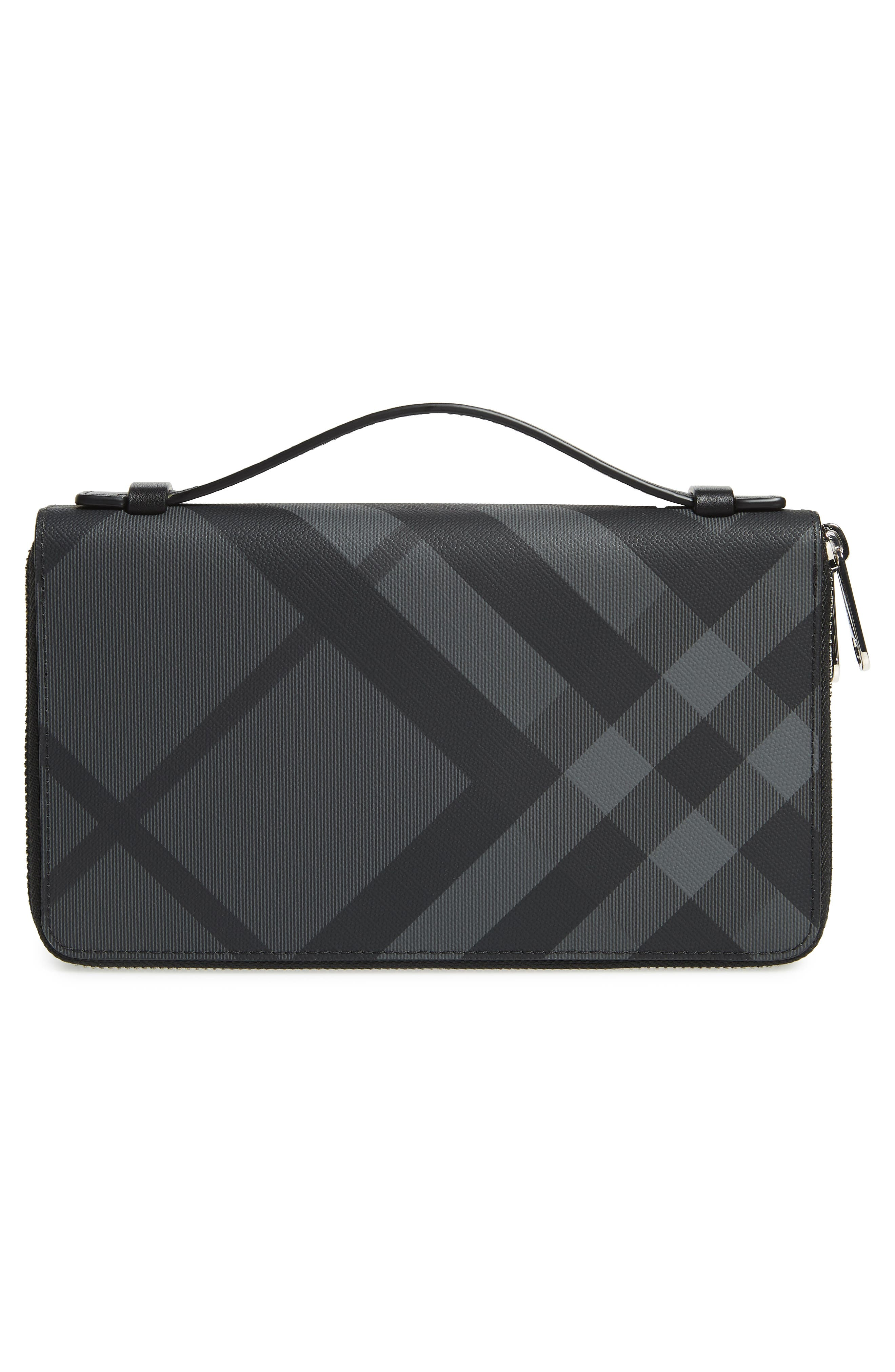 BURBERRY, Reeves Zip Wallet, Alternate thumbnail 2, color, CHARCOAL BLACK