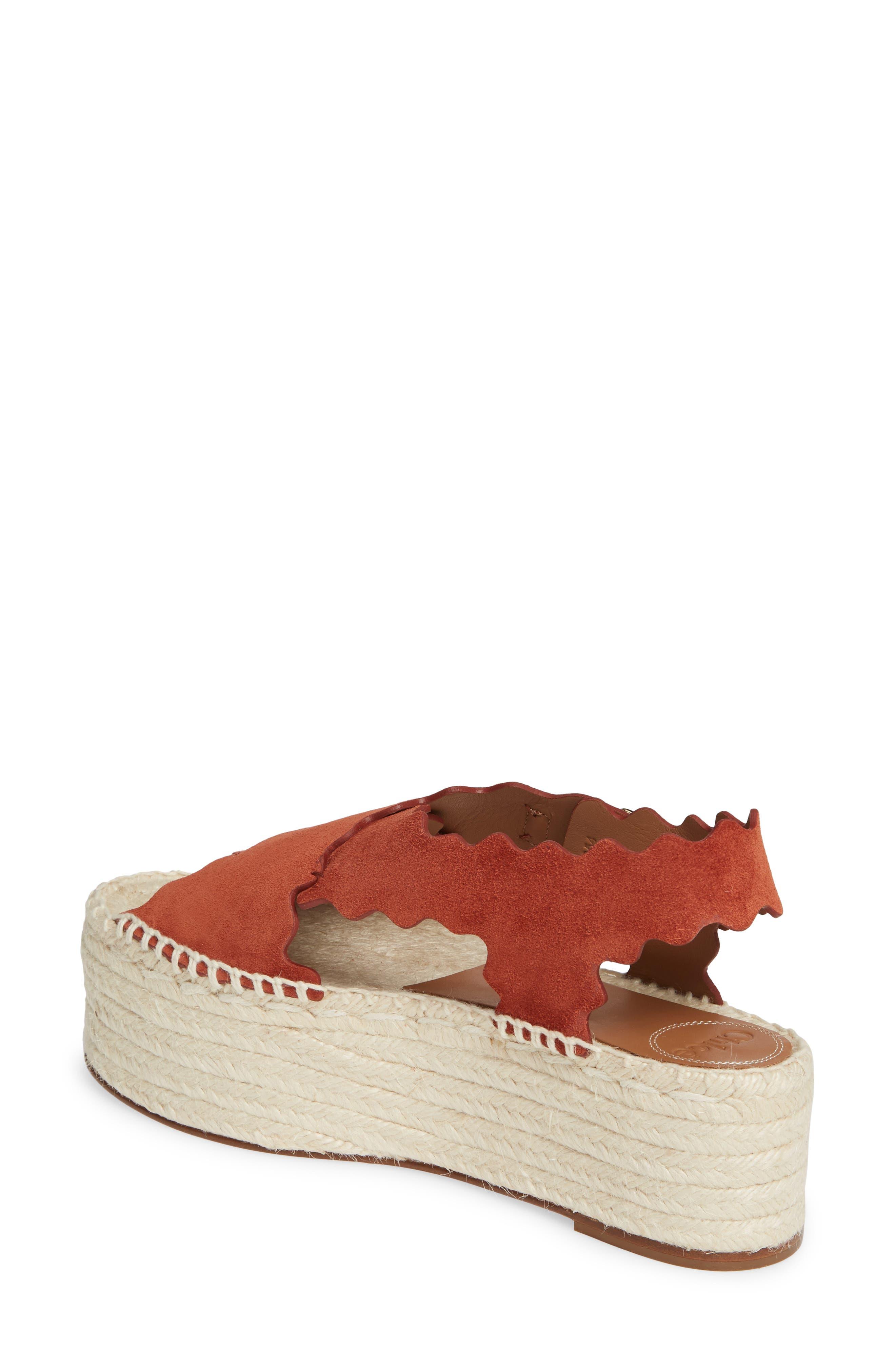 CHLOÉ, Lauren Scalloped Flatform Sandal, Alternate thumbnail 2, color, EARTHY RED