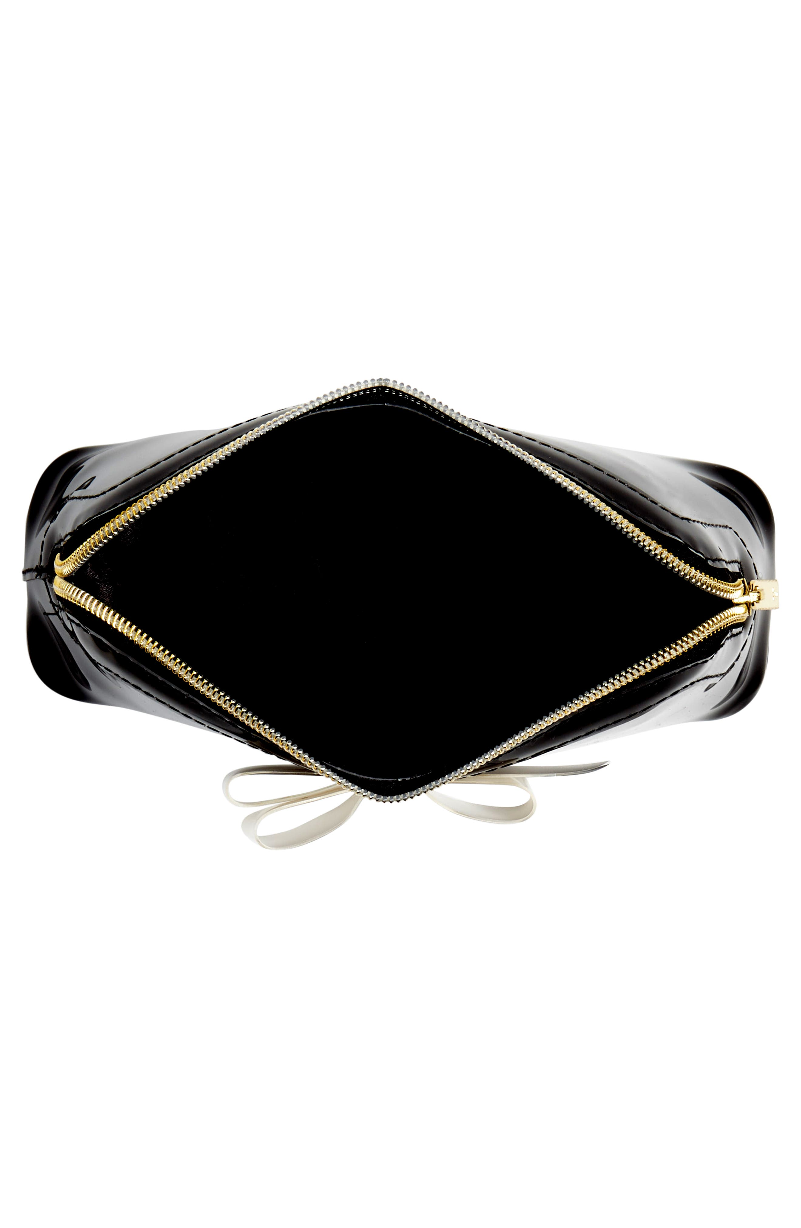 TED BAKER LONDON, Cahira Bow Cosmetics Case, Alternate thumbnail 3, color, BLACK